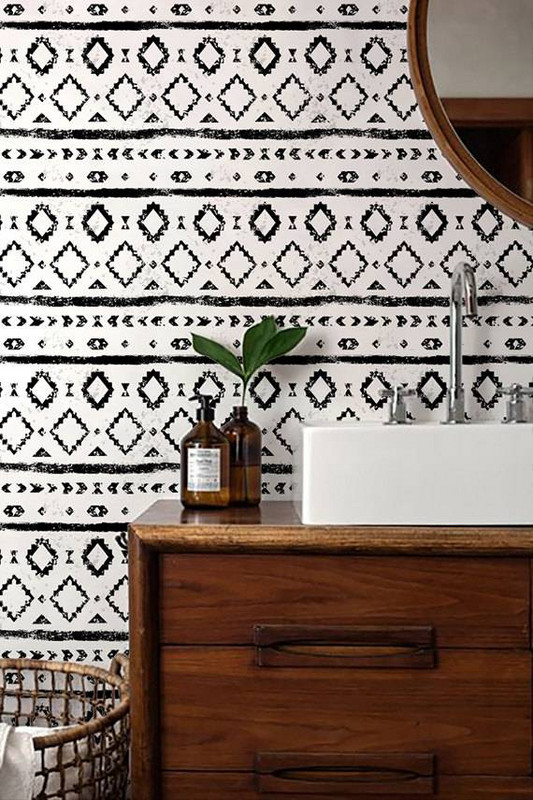 Worried, a pattern like this is too busy? I would suggest using it for a smaller space like a powder room so that the print isn't too overpowering.    Image Credit: Domino Magazine