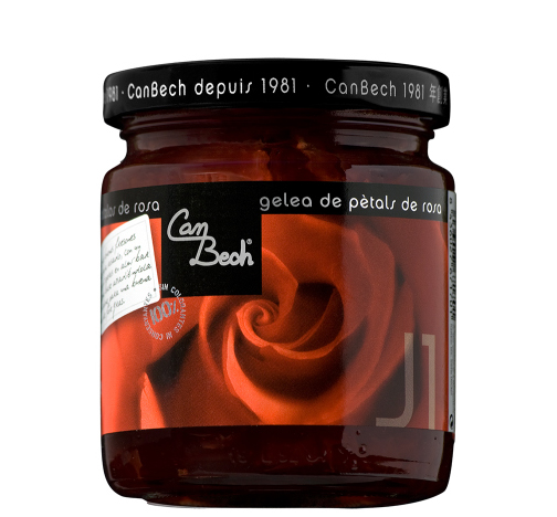 Rose Petal Jelly - Can Bech rose petal jelly only contains natural products, which exalt the flavor of this delicious jelly. An ideal product for gift-giving and for offering our loved ones. For enjoying on special occasions to remember.Combines with fresh or Parmesan cheese, with ice cream or fresh yogurt. It is also delicious with foie gras canapes or with dark chocolate for a cake. Perfect for making a very glamorous rose Cosmopolitan cocktail!