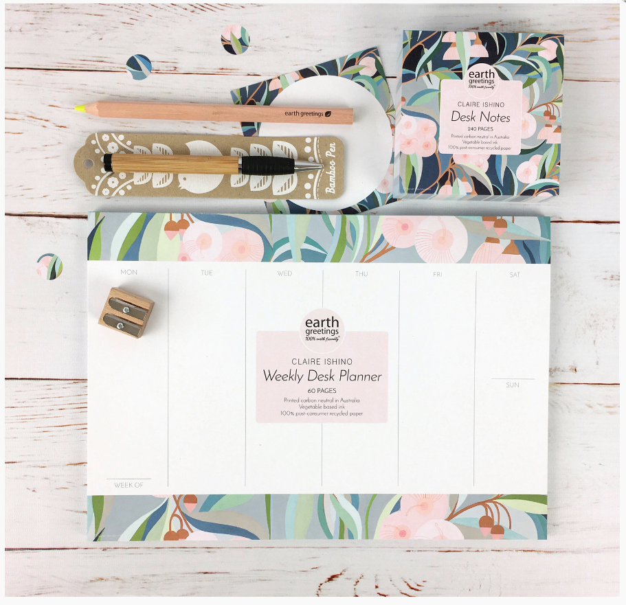 Claire Ishino's designs on Earth Greetings stationary.