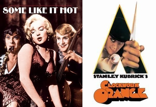 As improbable as it might seem folks, this is our 100th episode! That's more than two years of talkin' bout movies, tape, and toilets. We decided to mark this milestone by spinning the old AFI Roulette wheel which yielded the incongruous duo of  Some Like it Hot  (1959) and  A Clockwork Orange  (1971). Want an imagined comic about a hapless gas station attendant's last meal at Arby's? Covered! Need a meandering speculation about a desert-island-stranded tuba player and her one-legged jockey inamorato? Included! Curious about Betsy the Honey Bucket's unfortunate encounter with Ryan's gusty butt? It's all here on this week's extra special double helping of Ex Rated Movies!