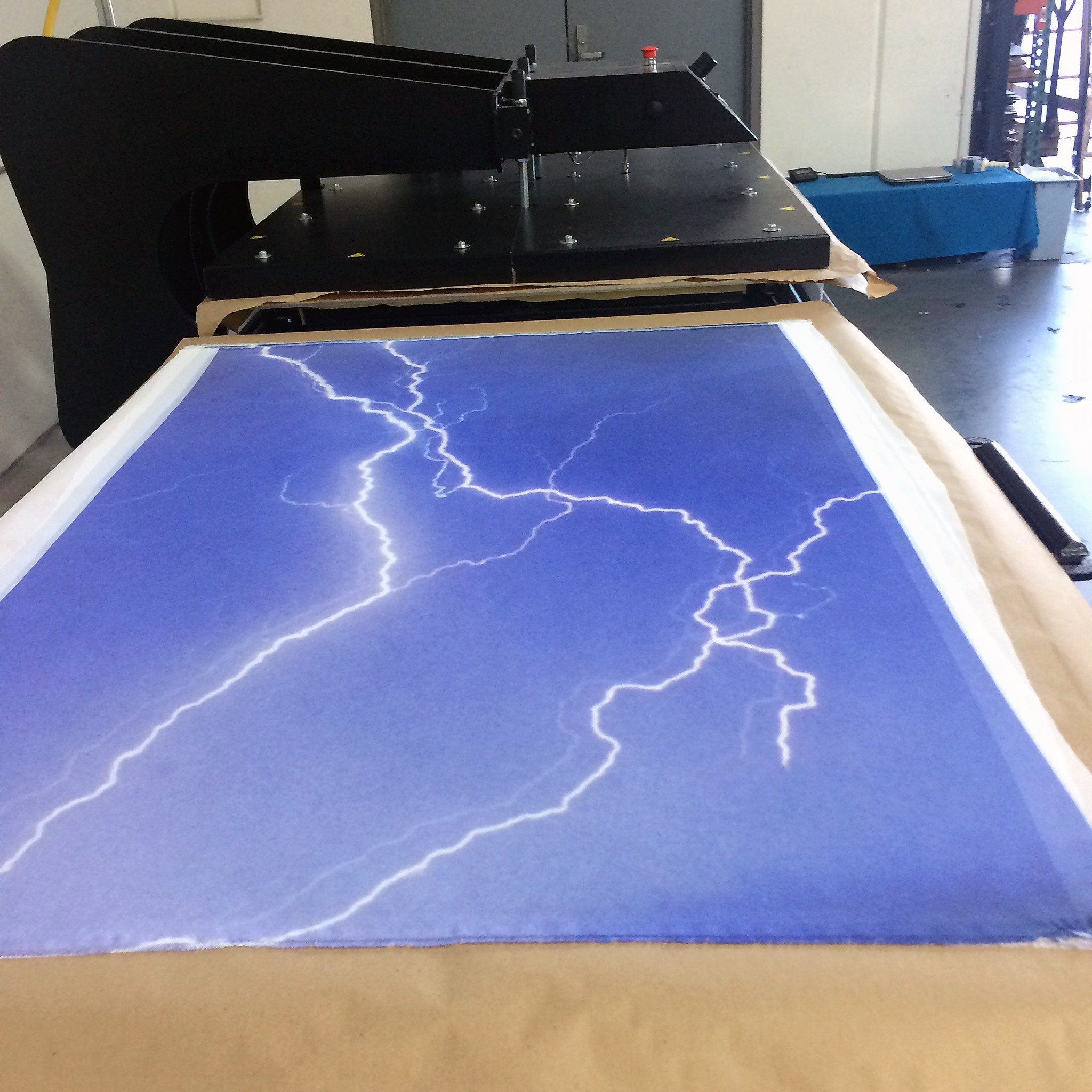 Large format photographic sublimation used to print the front and back panels of the dress  Photo credit: Jeff Sholk