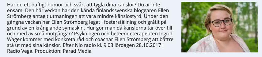 Medverkan i  radioprogrammet  Efter Nio   om humörsvängningar, oktober 2017.