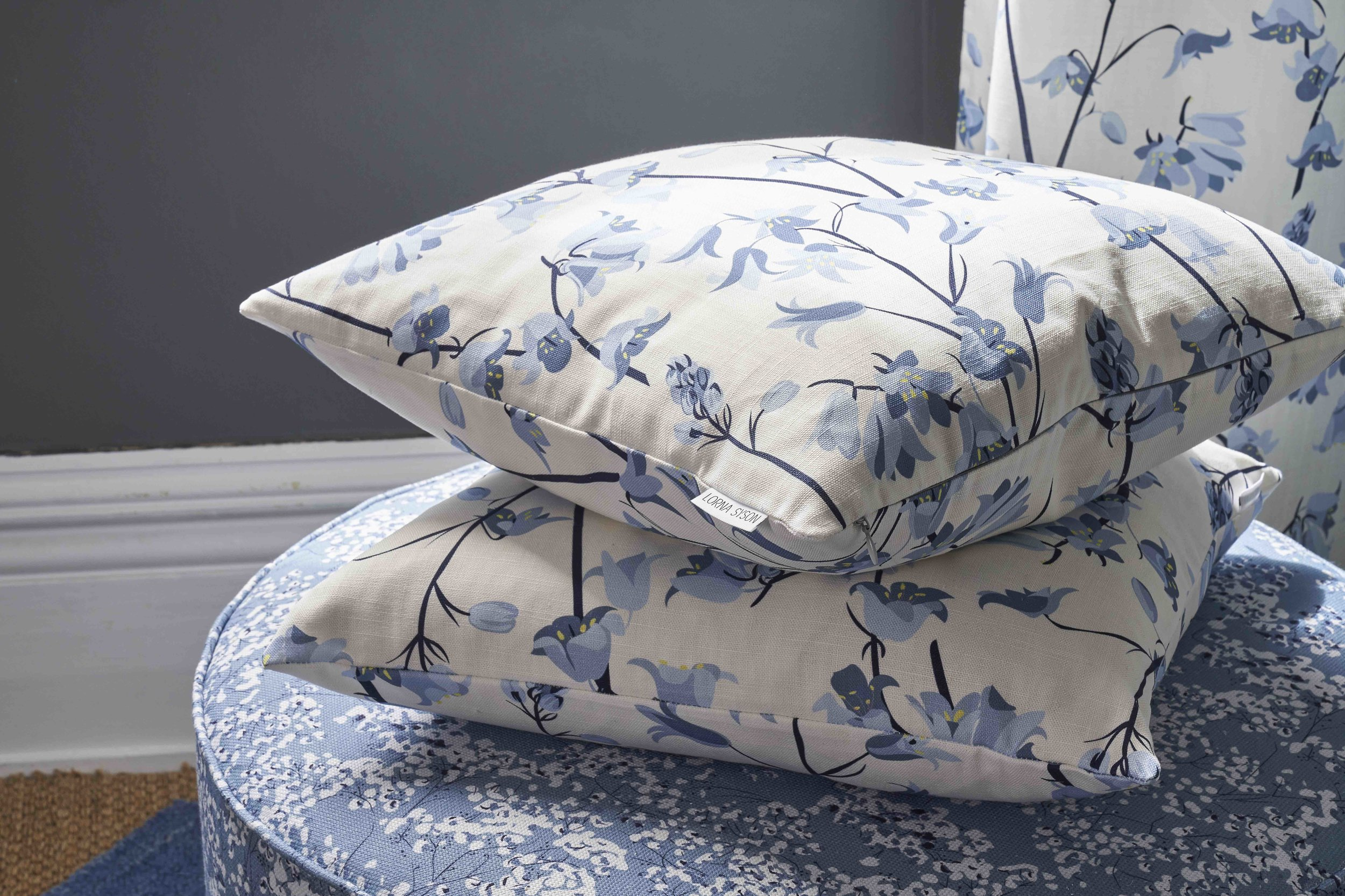 Lorna Syson Bluebell cushion on Arla Stool low res.jpg