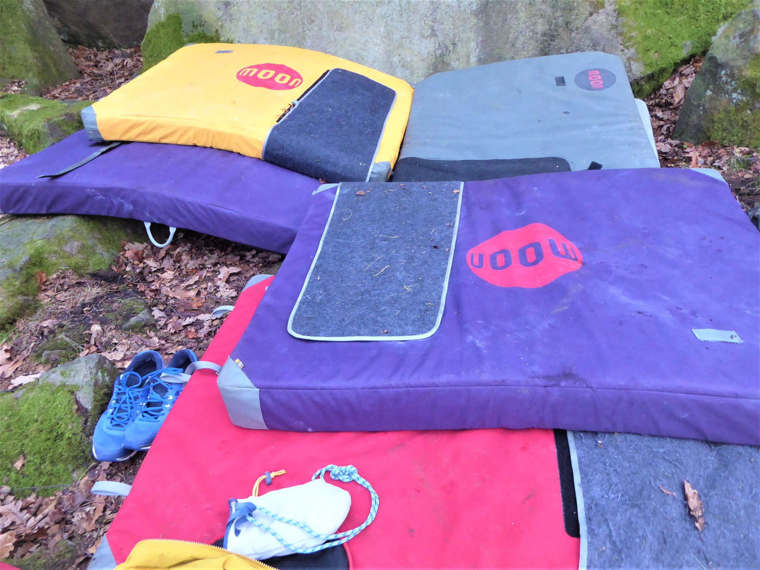 Bouldering Pad Hire - Grab one of our Moon Warrior pads to get out bouldering in the Peak District. Great if you are visiting Sheffield, starting out, or just need an extra pad for your project.