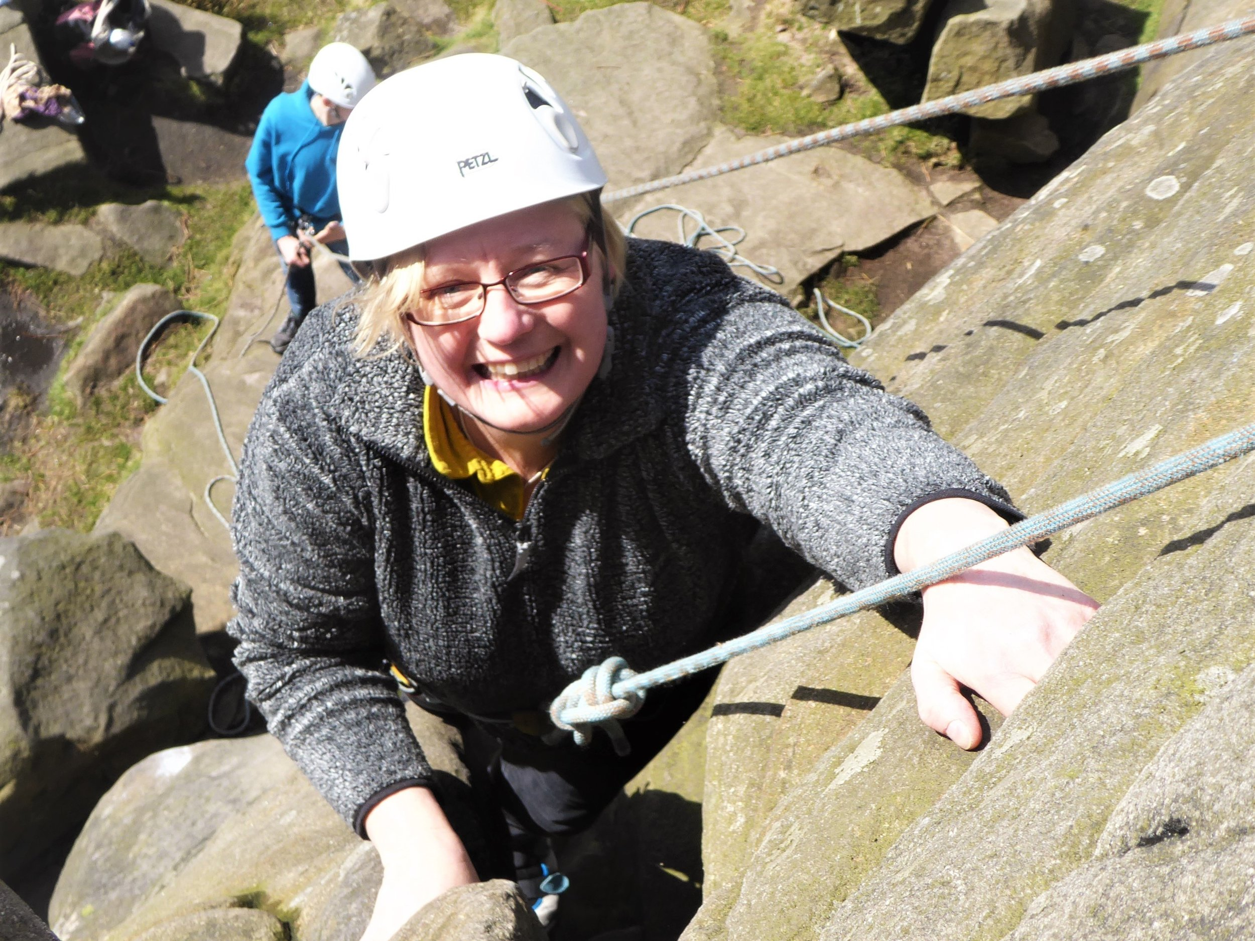 Rock Climbing - Climb on real rock in the beautiful Peak District. No prior experience is required. We can climb on any of the gritstone edges in the Peak District.If you already have some climbing experience and want to improve you can contact our coaches to book an outdoor session with them.