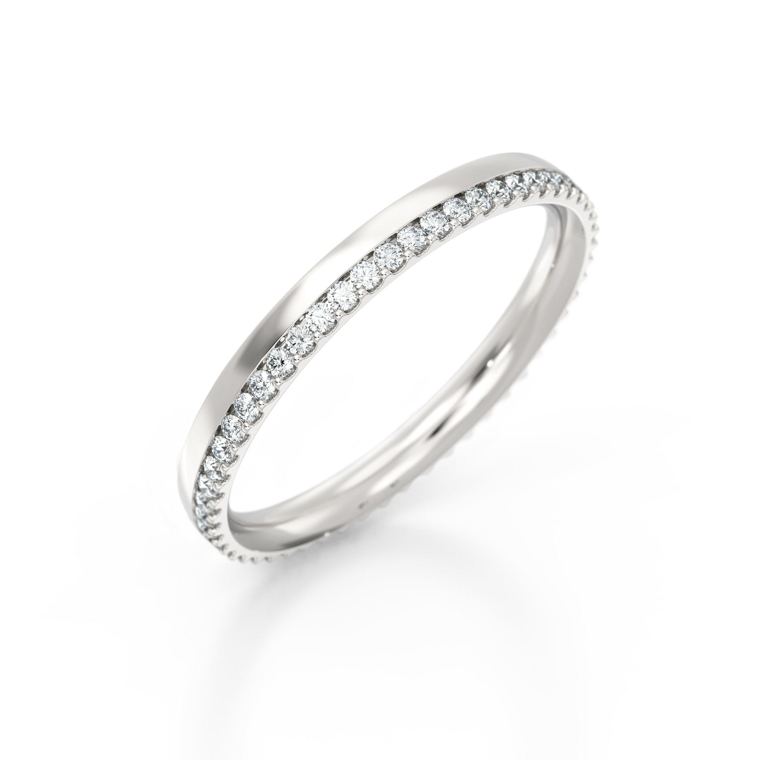 Off-set shared claw diamond eternity ring   Hatton Garden
