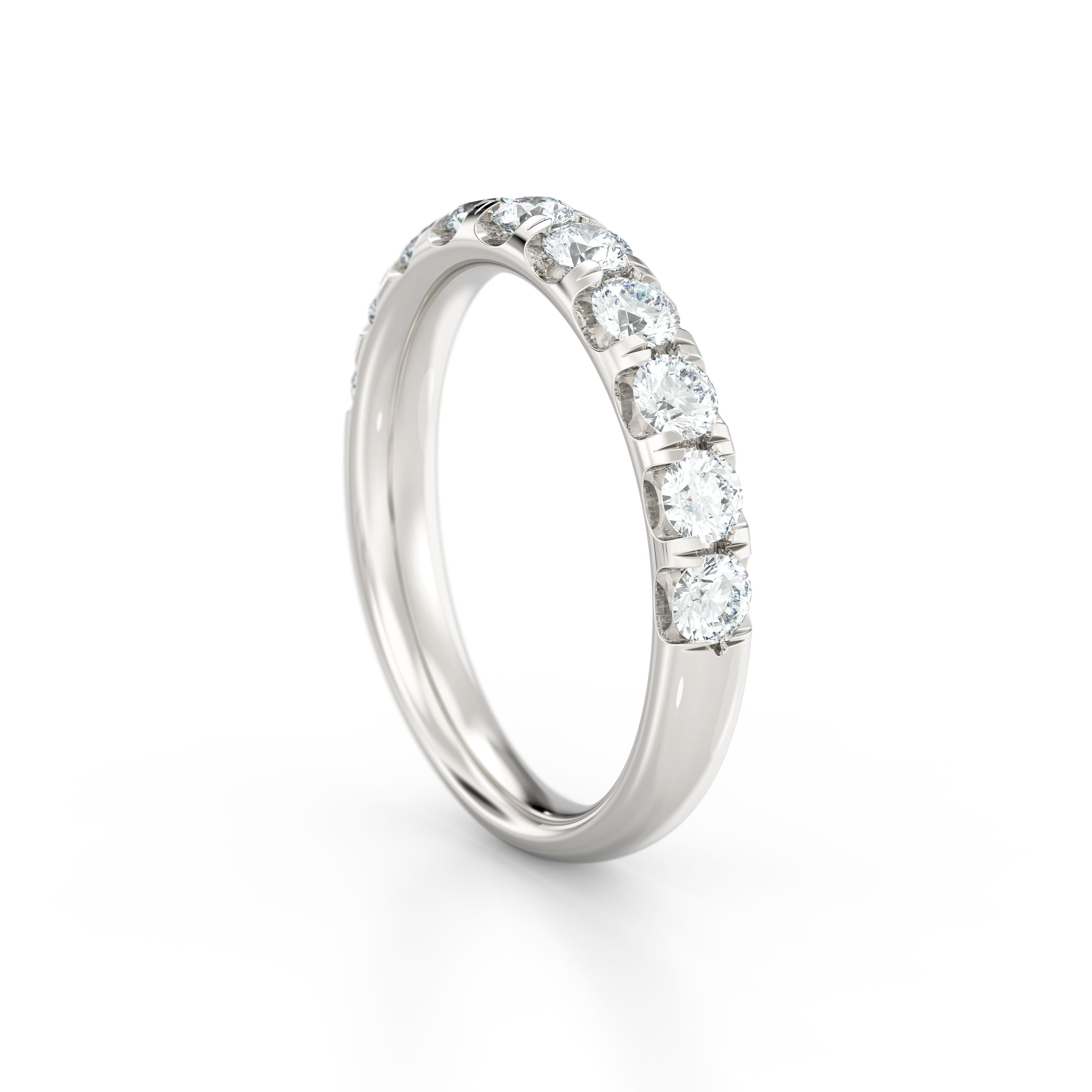 Ten stone shared claw diamond eternity ring