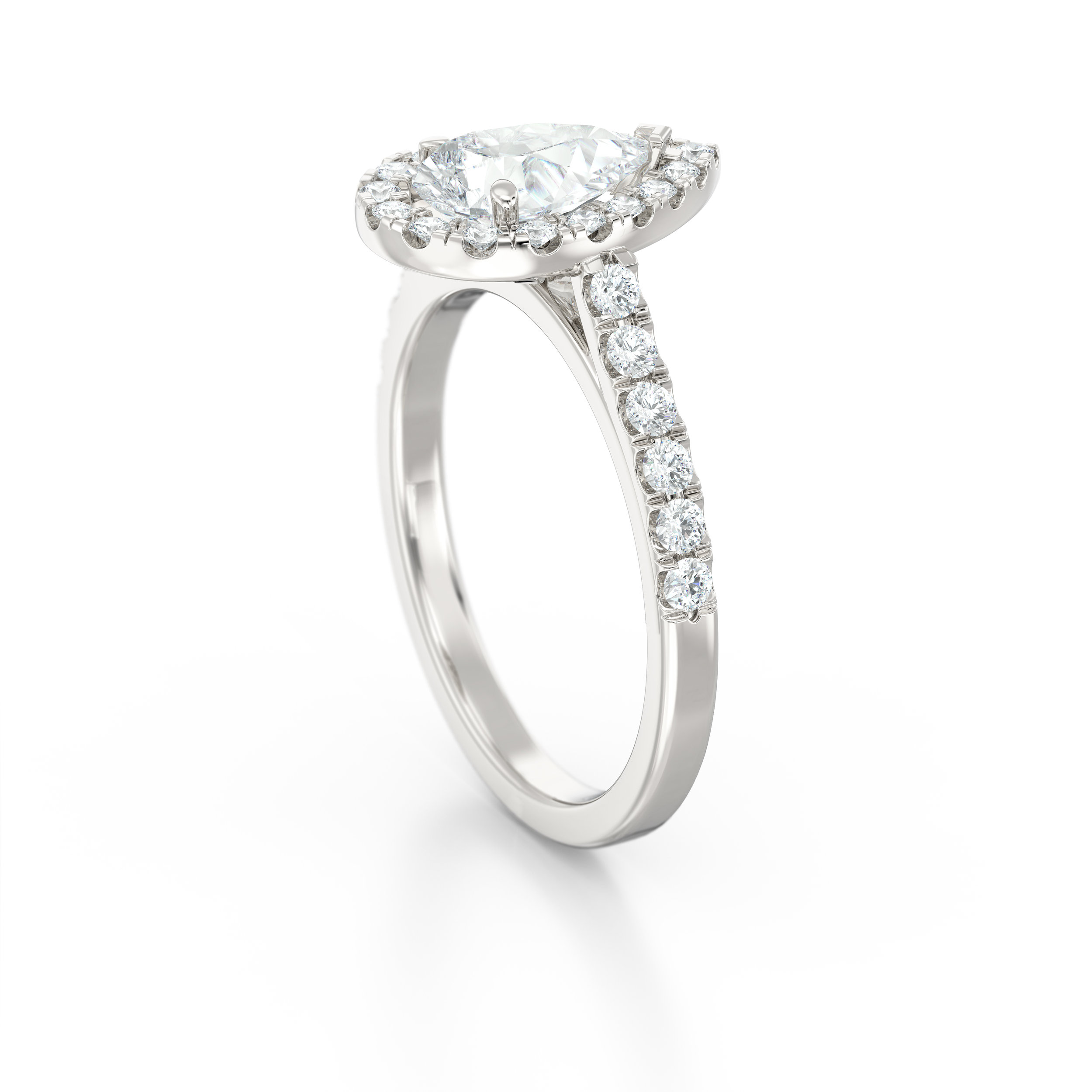 Pear shape diamond halo engagement ring