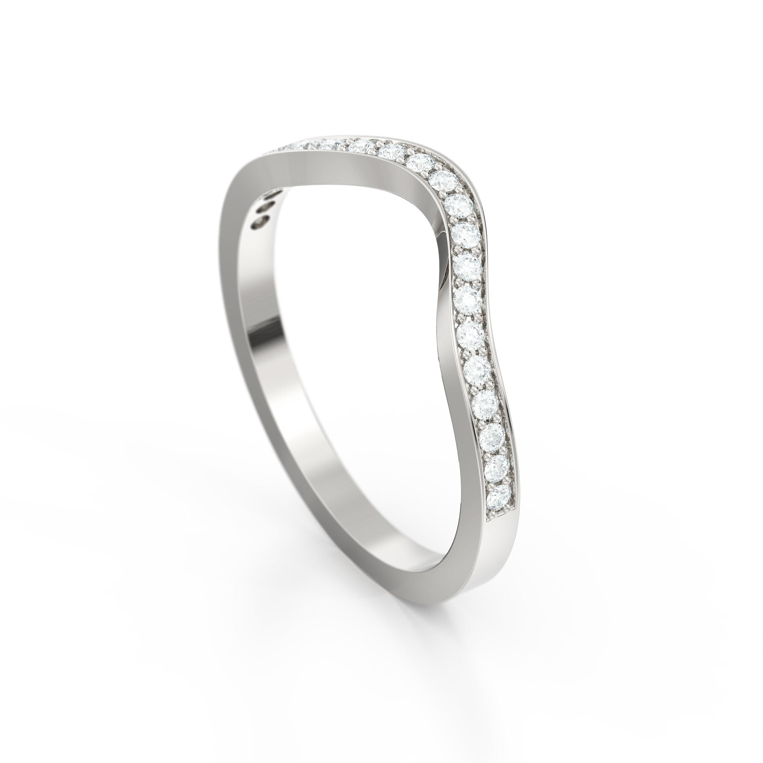 Horse shoe pave set diamond eternity ring