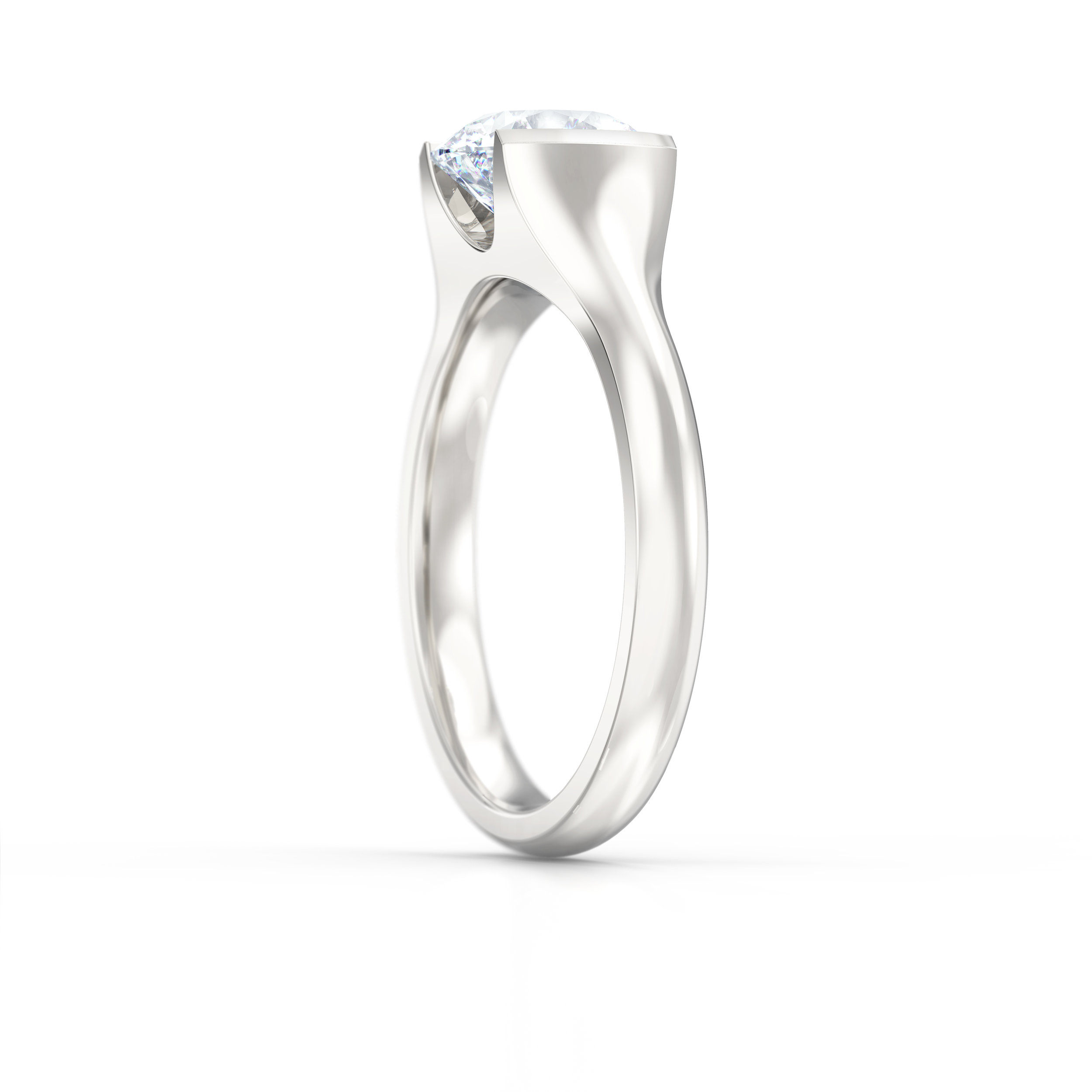 Rub Over Solitaire Engagement Ring | Hatton Garden