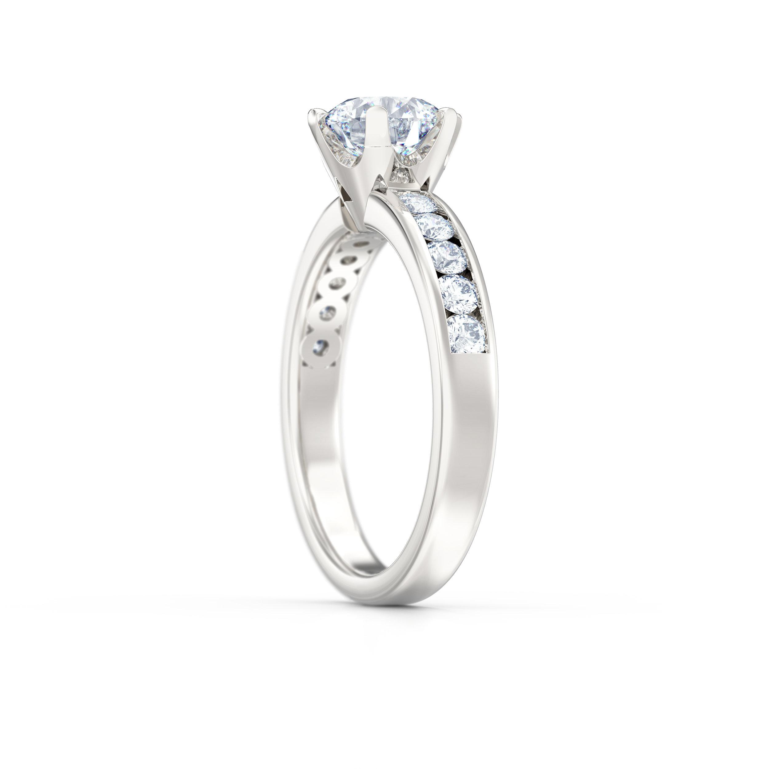 Brilliant cut channel set diamond shoulder engagement ring