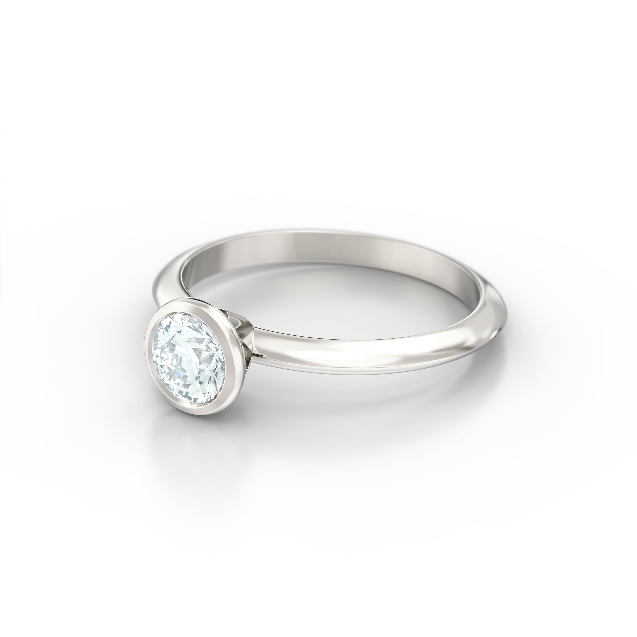 Rub Over Platinum Solitaire Engagement Ring | Hatton Garden