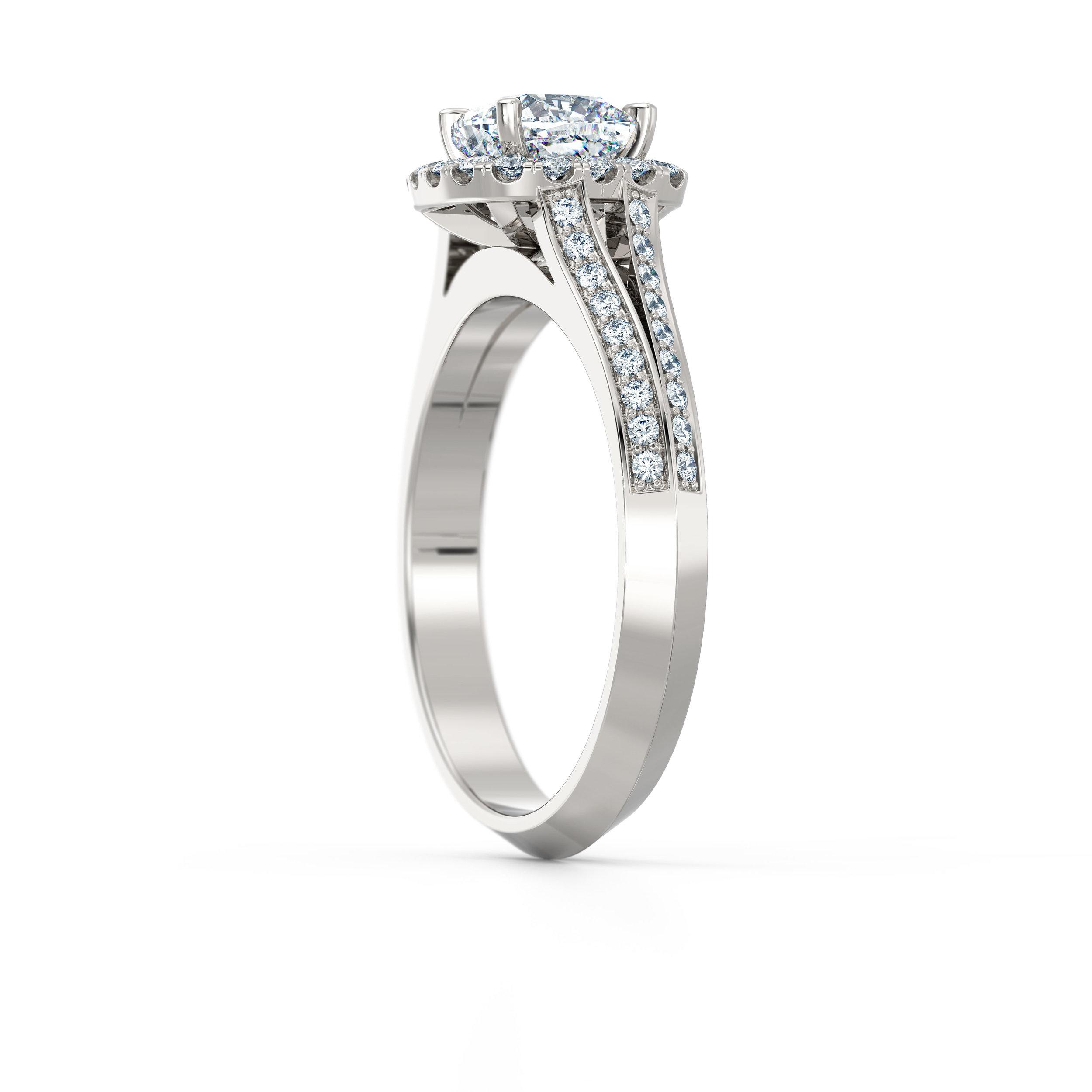 Cushion cut diamond double shank halo engagement ring
