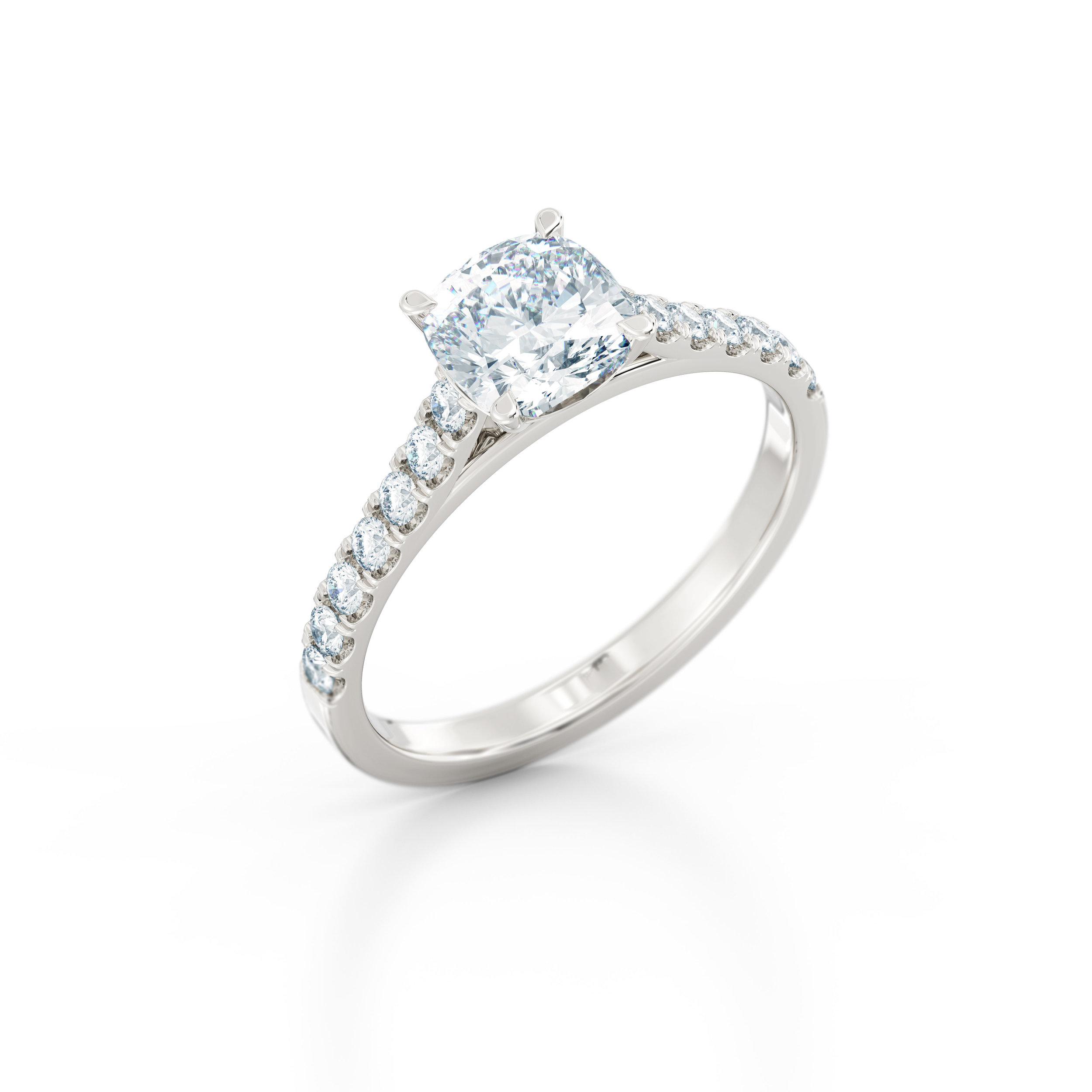 Cushion cut diamond shoulder engagement ring