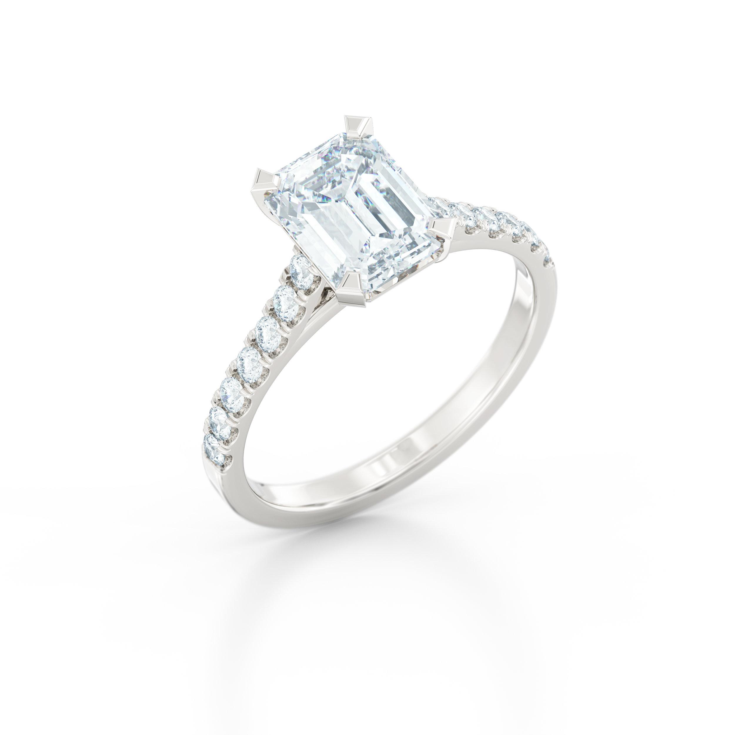 Emerald cut diamond shoulder engagement ring