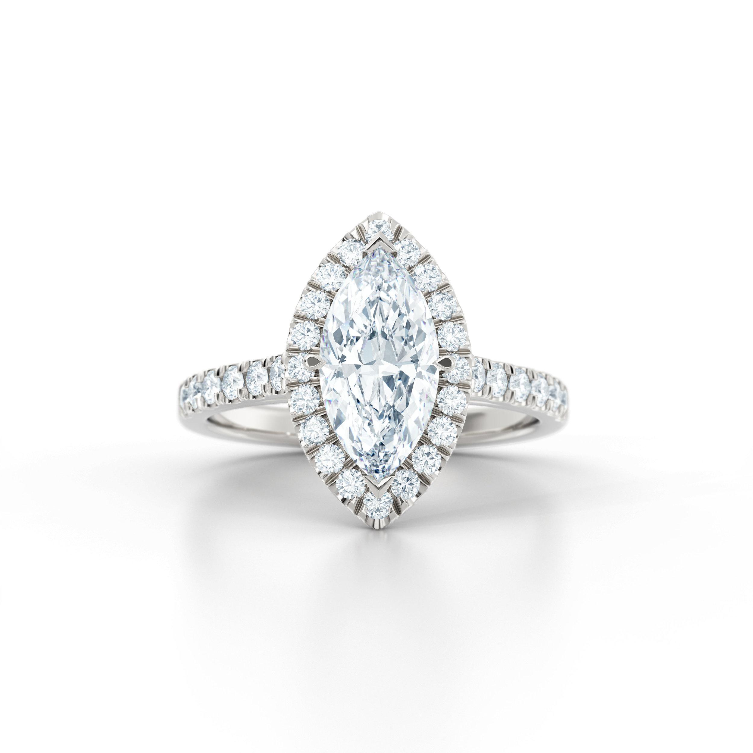 Marquise diamond halo engagement ring