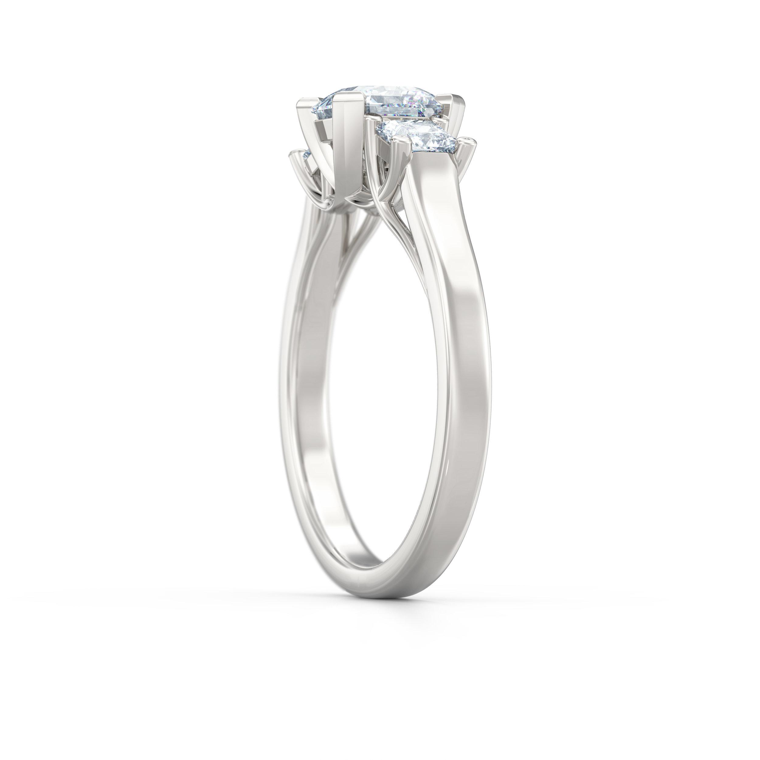 Asscher Cut Trilogy Engagement Rings | Hatton Garden Jewellers