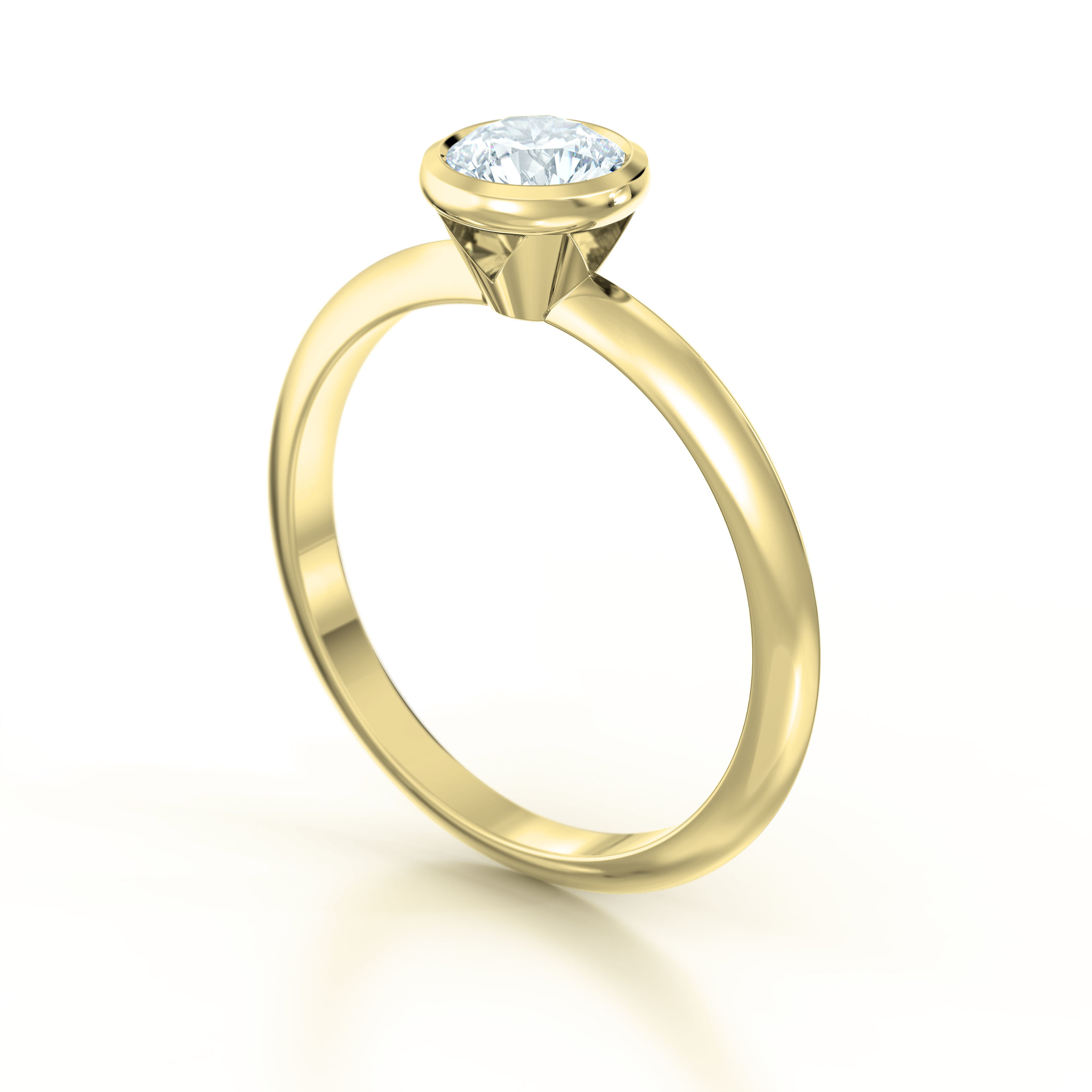 Rub Over Yellow Gold Solitaire Engagement Ring | Hatton Garden