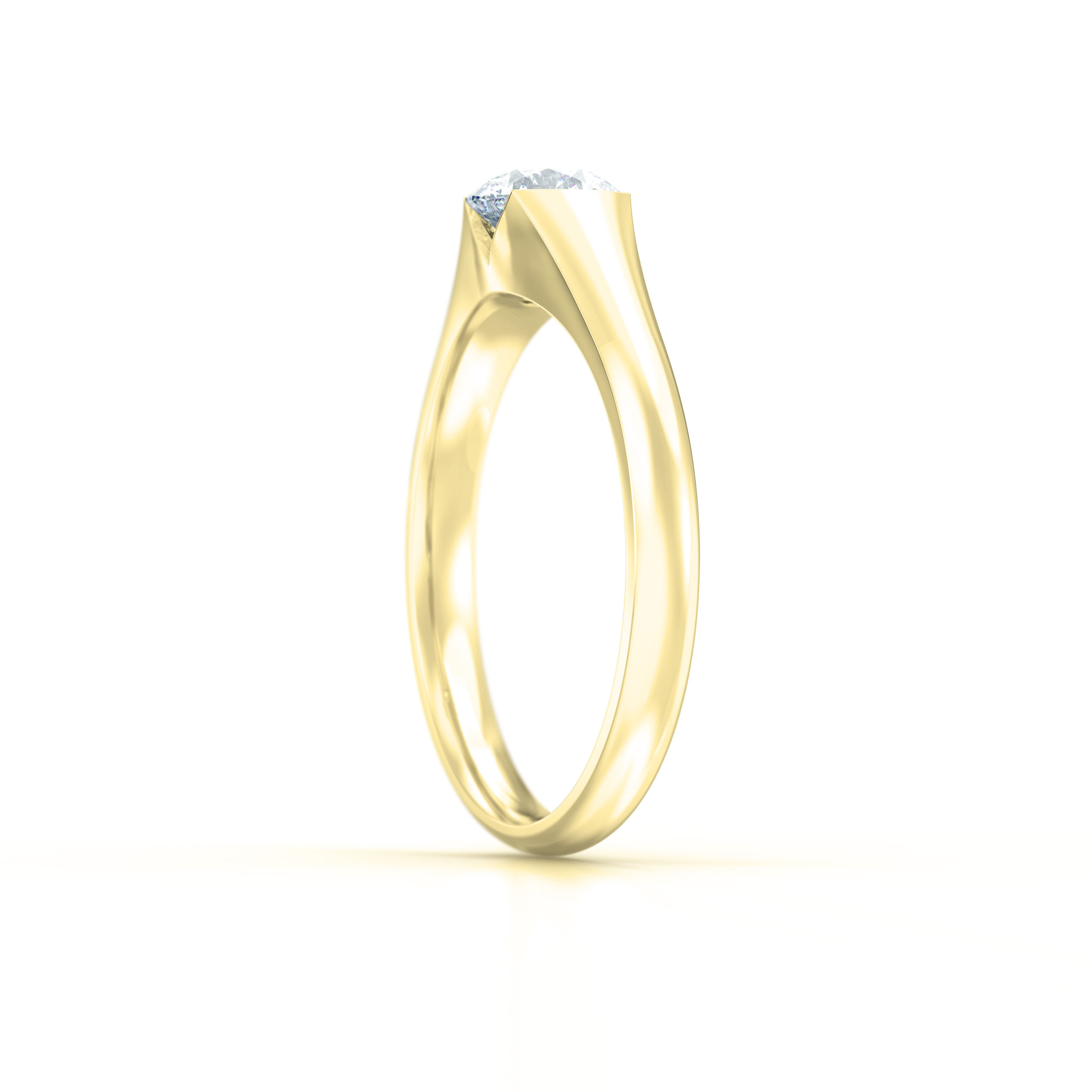 Tapered Yellow Gold Solitaire Engagement Ring | Hatton Garden