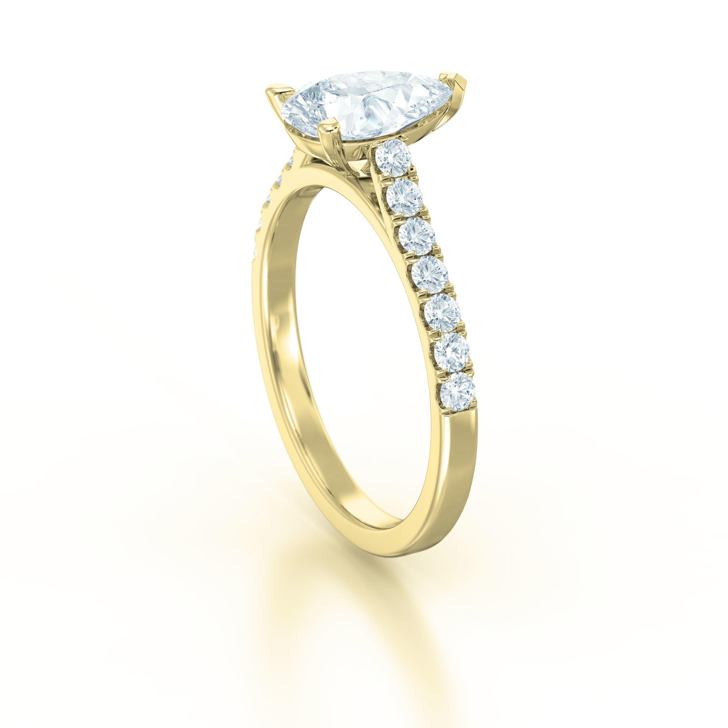 Pear shape diamond shoulder engagement ring