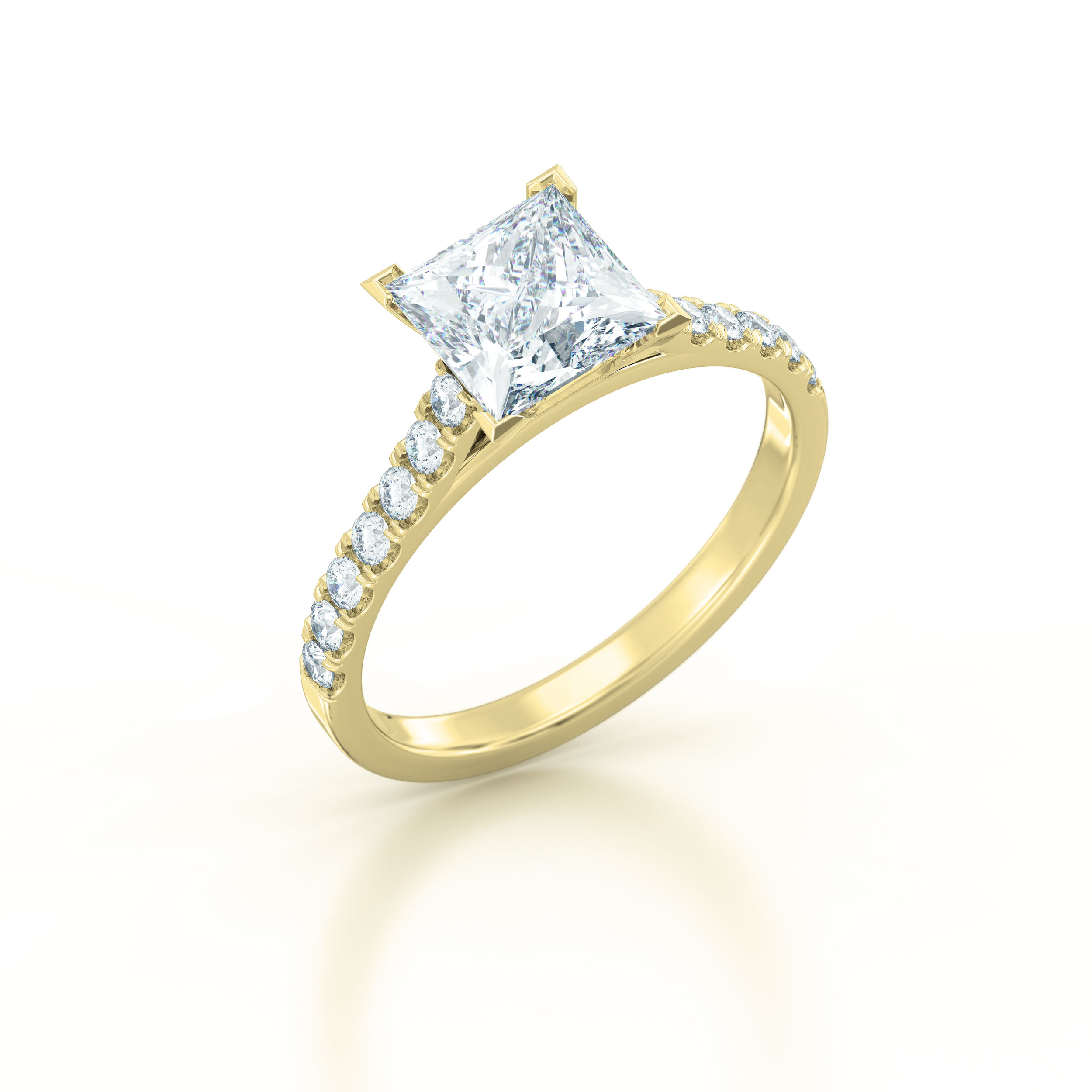 Princess cut diamond shoulder engagement ring