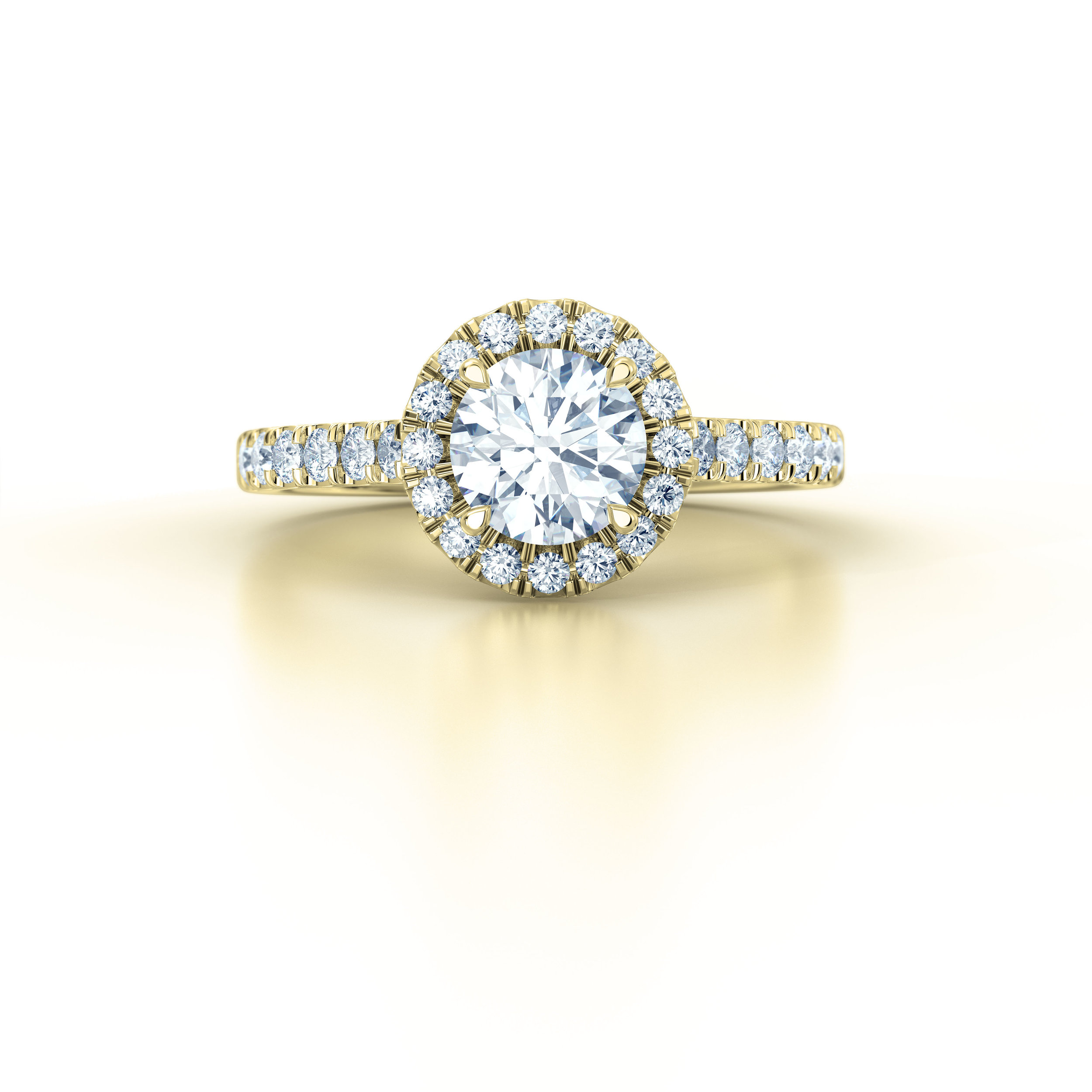 Brilliant cut diamond halo engagement ring