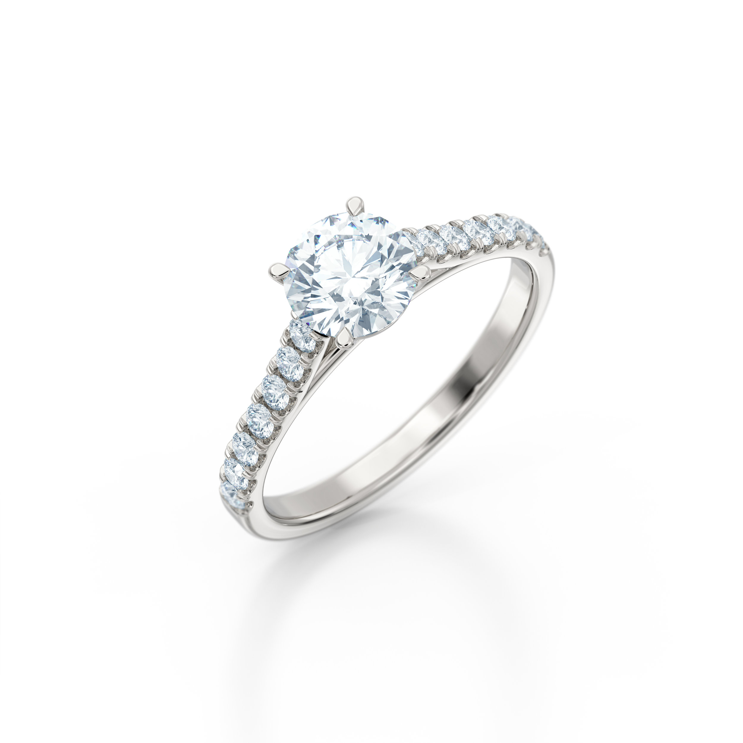 Brilliant cut diamond shoulder engagement ring | Hatton Garden