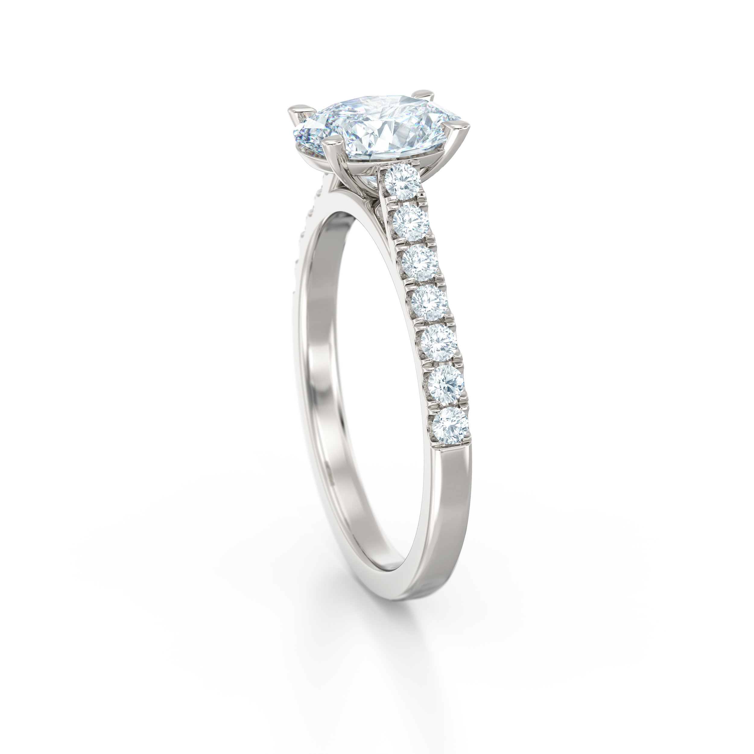 Oval Diamonds Shoulder Engagement Ring | Hatton Garden