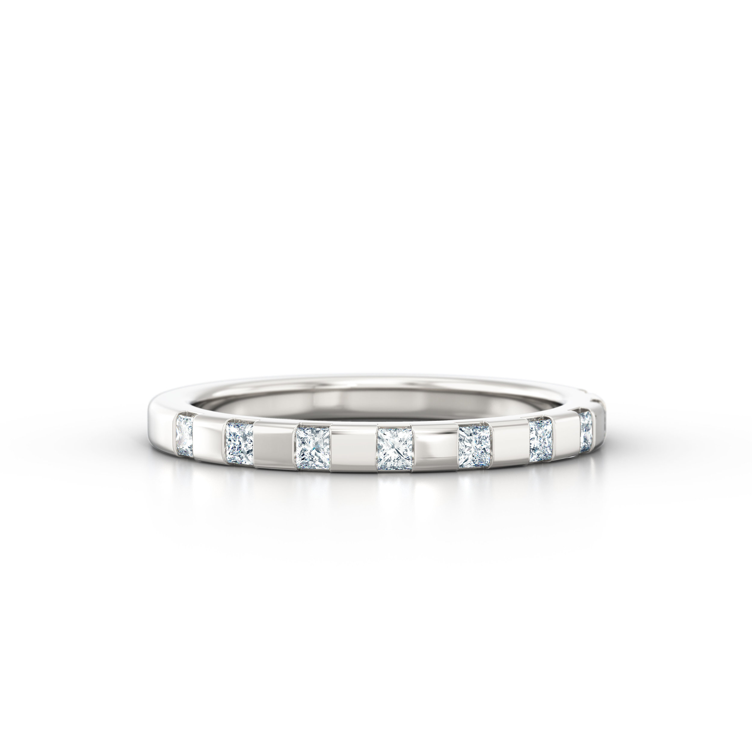 Off-set Princess Cut Eternity Ring | Hatton Garden