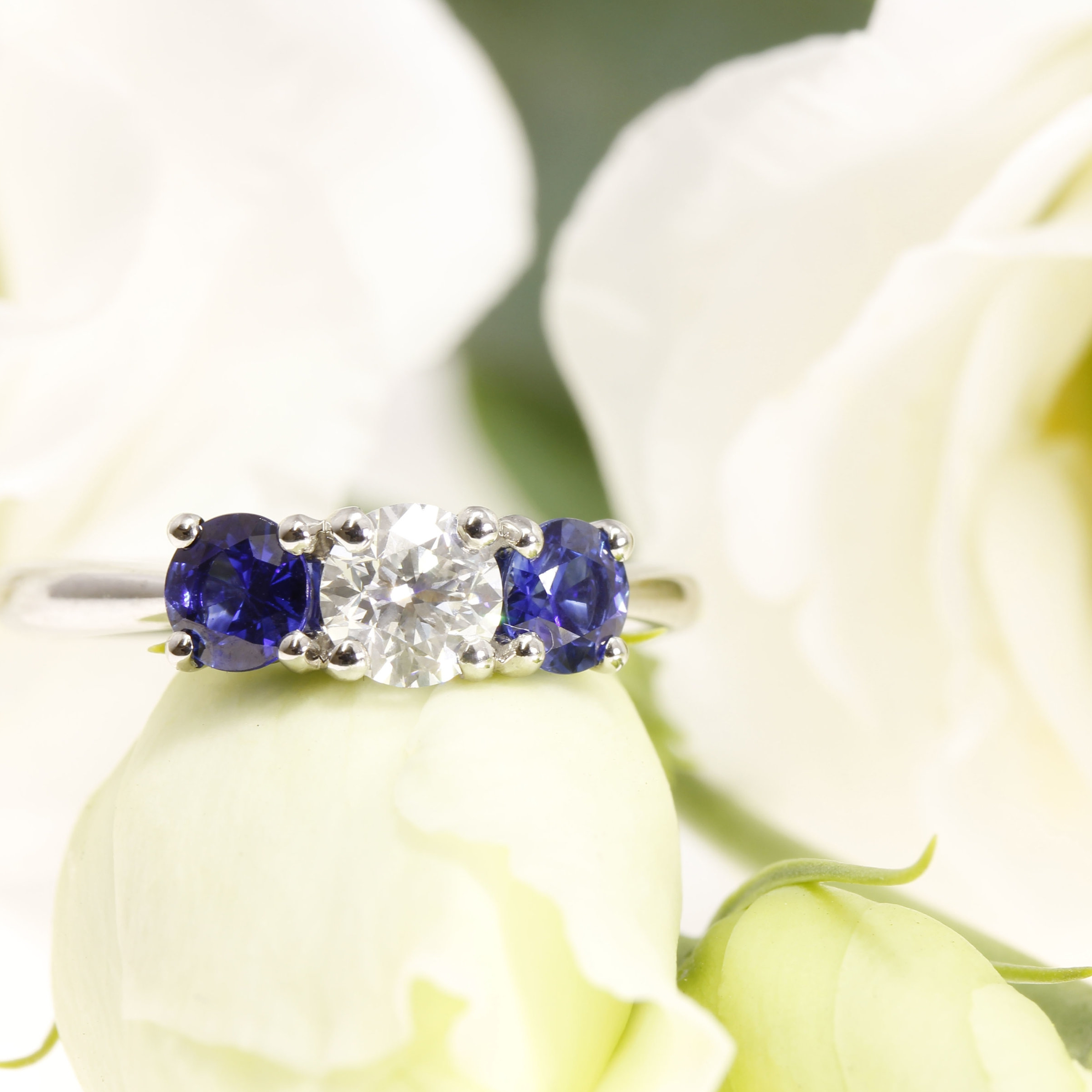 Trilogy Brilliant Cut Diamond & Sapphire Engagement Ring, Hand Crafted in Hatton Garden, London.