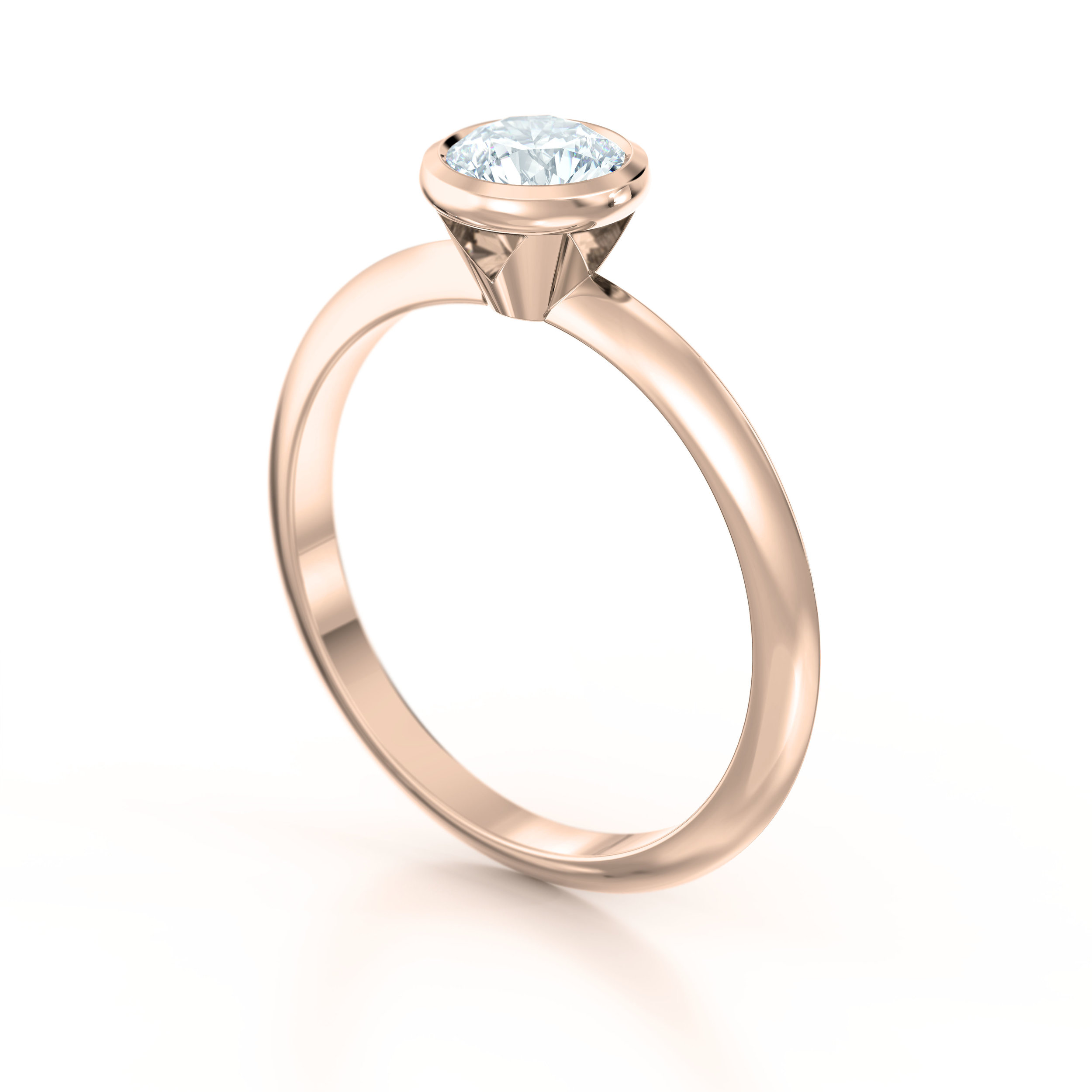 Rub Over Rose Gold Solitaire Engagement Ring | Hatton Garden