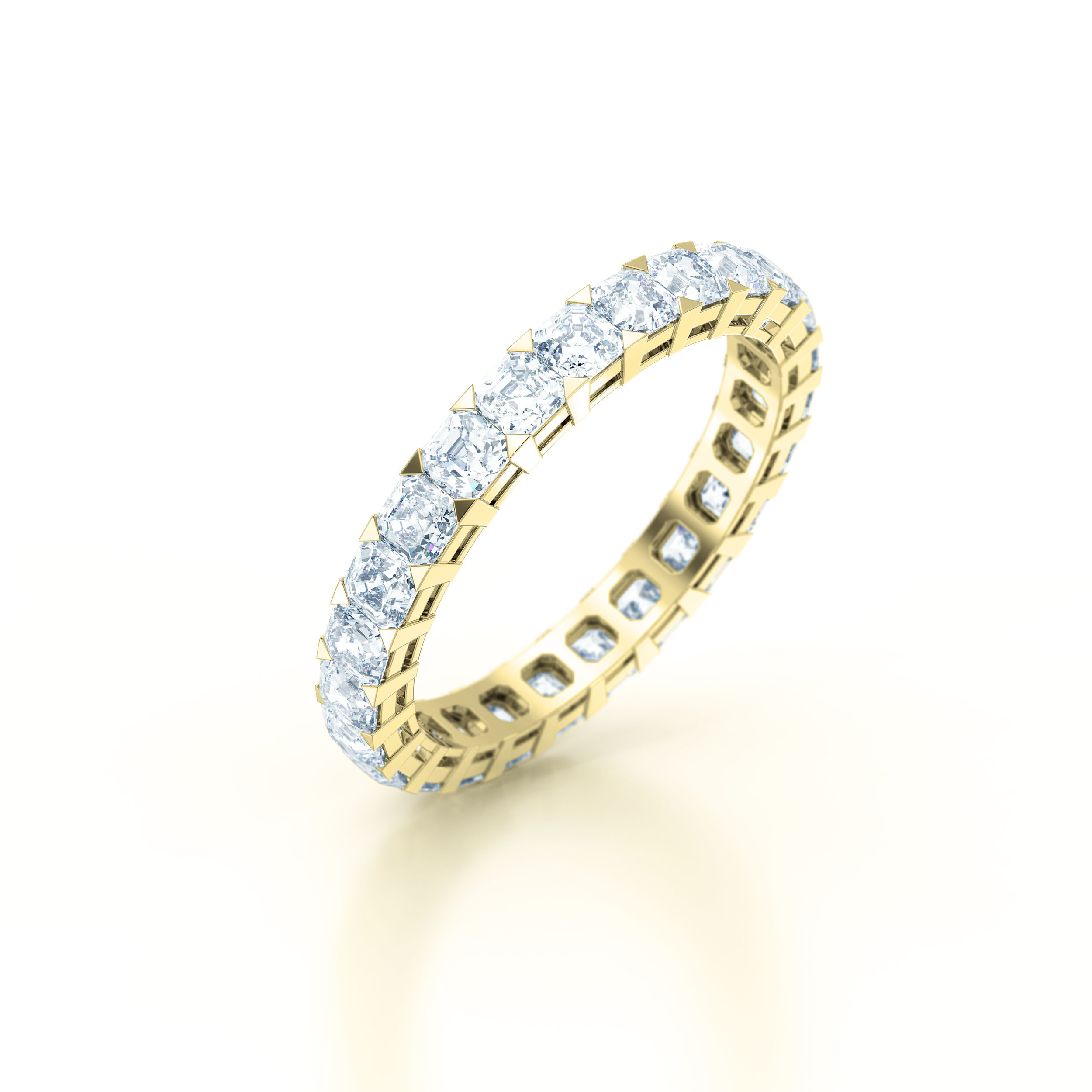 Asscher Cut Shared Claw Eternity Ring | Hatton Garden | London