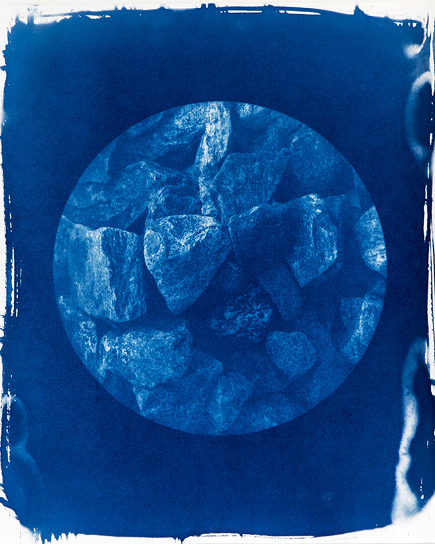 64 mm.  Cyanotype 1: 1 reproduction of gravel sample, location 3. 42 x 29 cm.