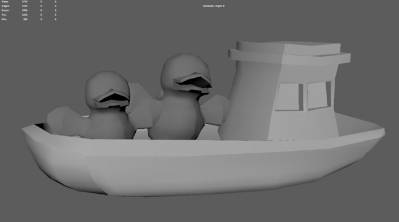 I modeled a toy boat to keep the duck's family safe from danger.