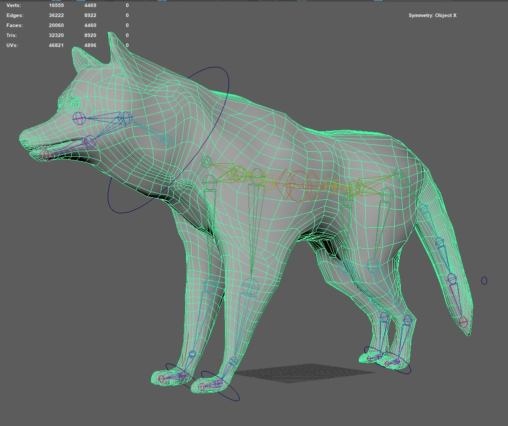 Final model and weight-painted rig. Texture for the husky was outsourced to a student outside of the project.