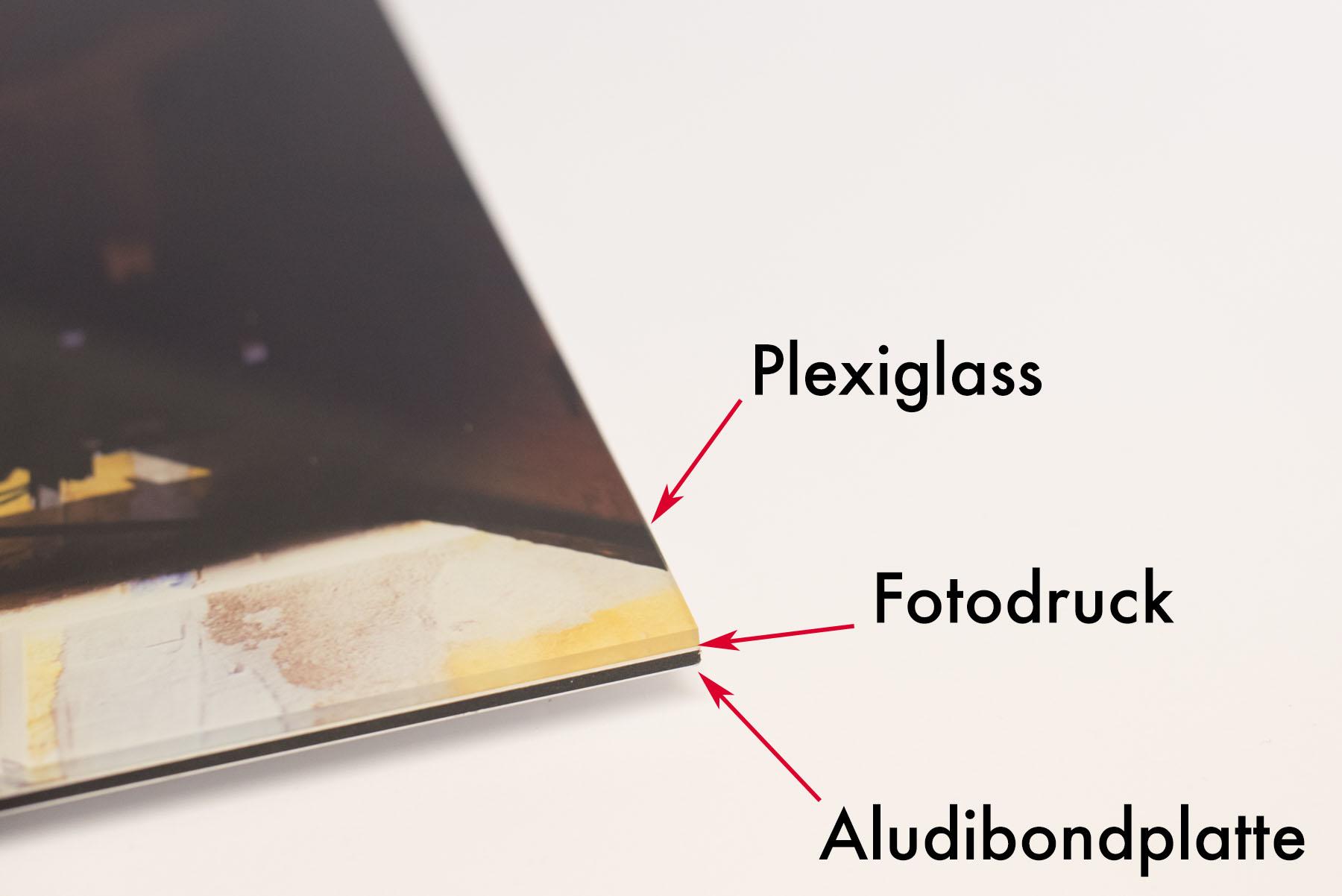 Detailerklärung des Galleryprint Drucks. Auf einer Aludibondplatte wird stabil der Fotodruck aufgebracht und mit Plexiglass versiegelt.