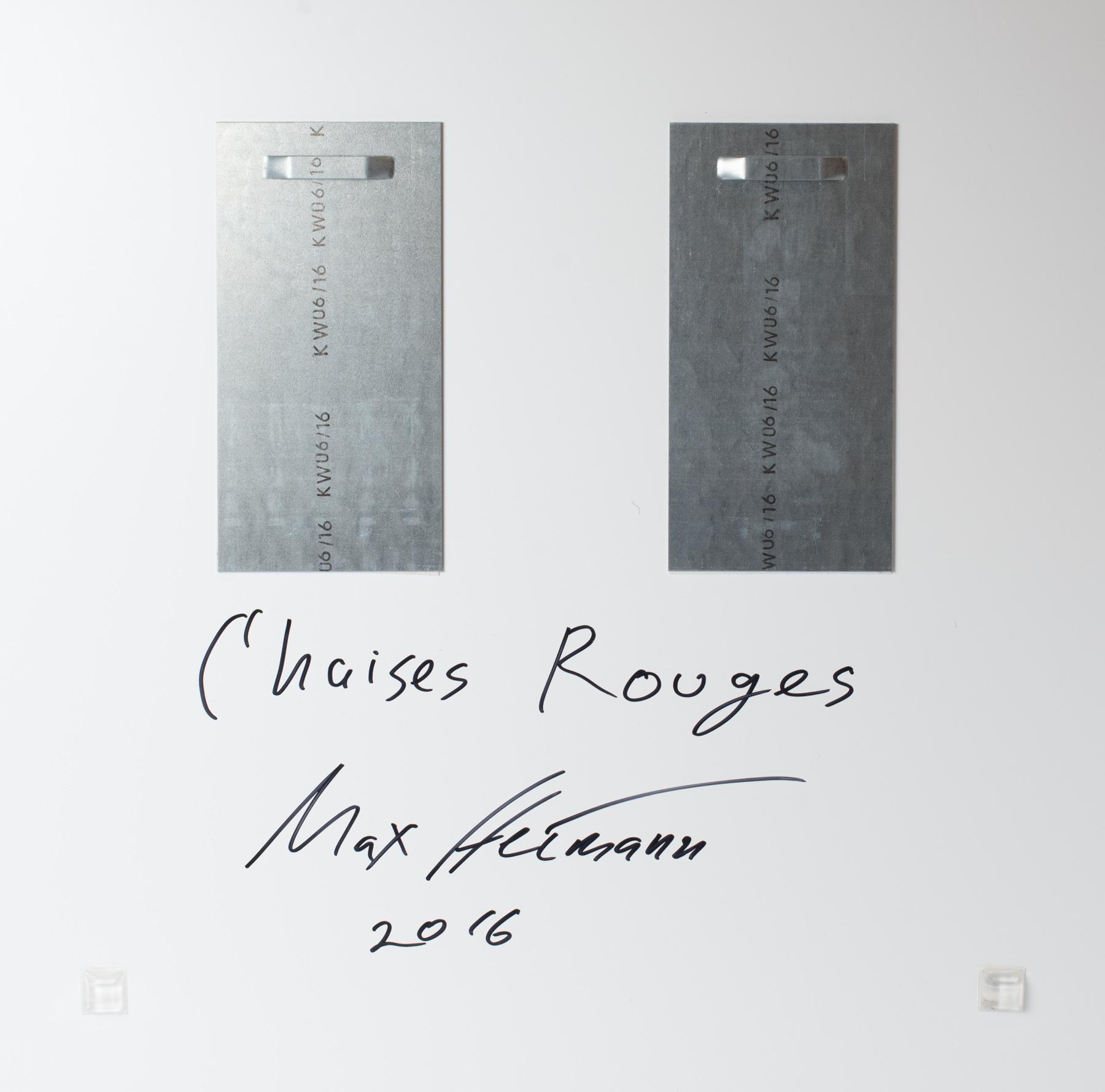 Signiertes Werk Rückseite. Geklebte Aluhängungen verleihen eine sichere Aufhängung. Zwei Eckgummis lassen das Bild perfekt von der Wand abstehen.