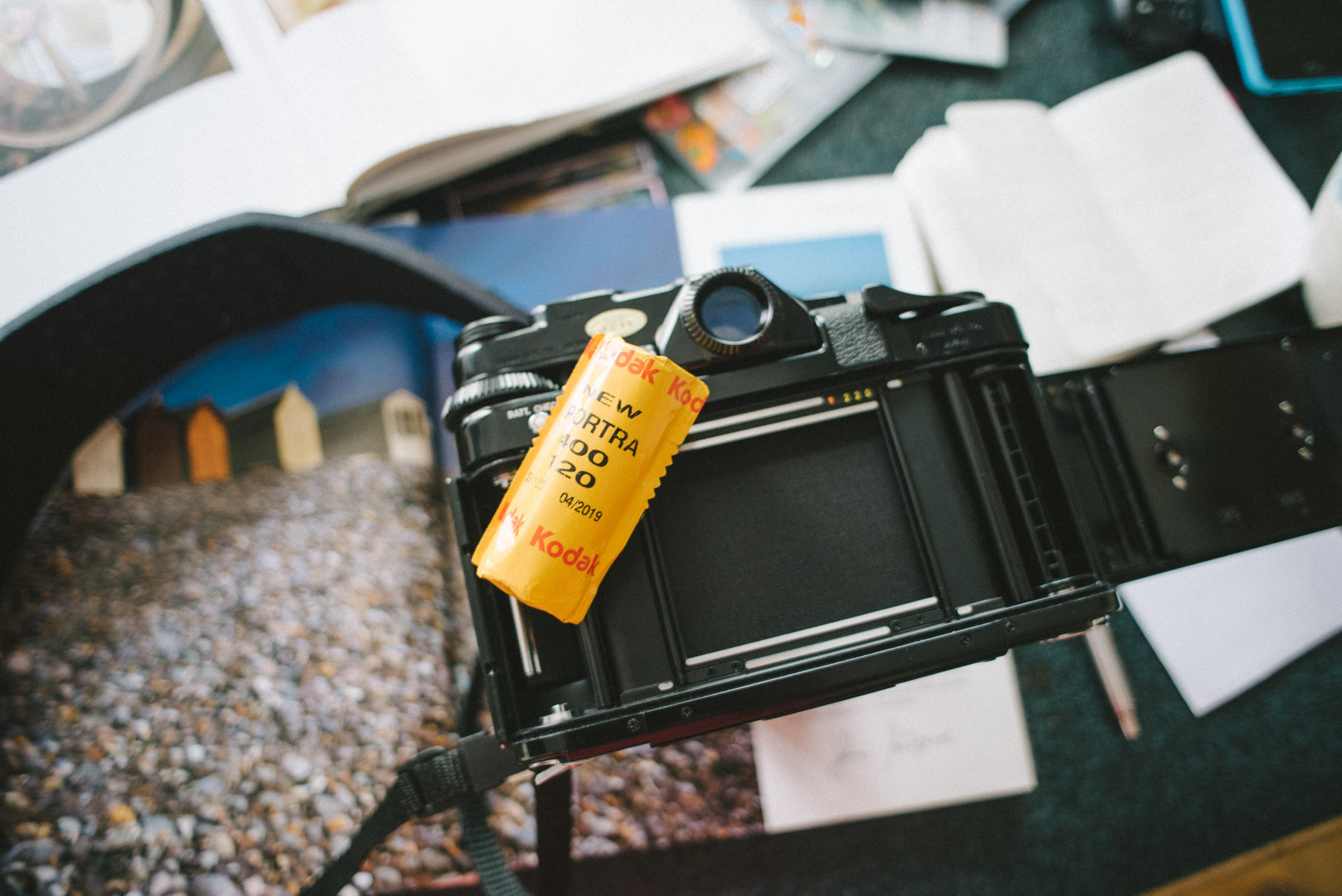 Kodak New Portra 400 medium format film roll ready to be loaded into my Pentax 6x7