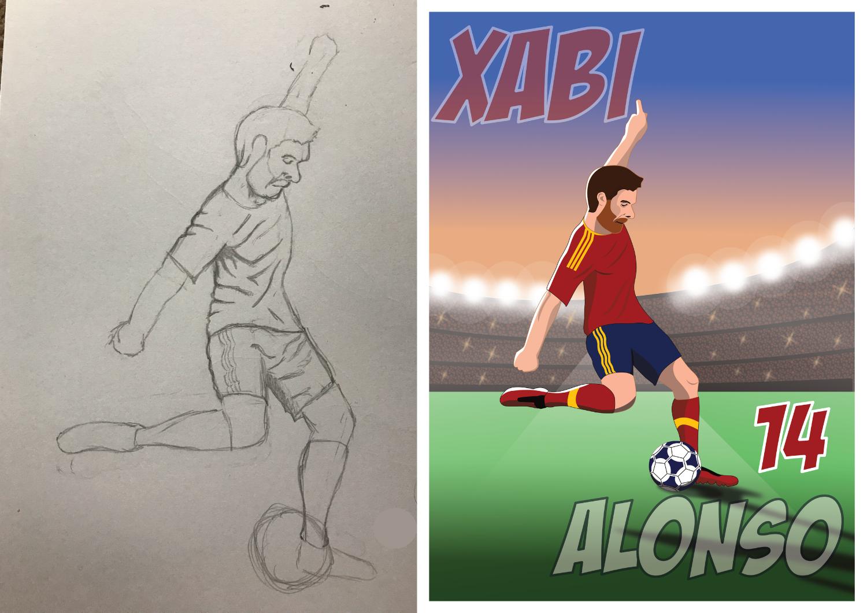 Xabi Alonso - Pencil to Print