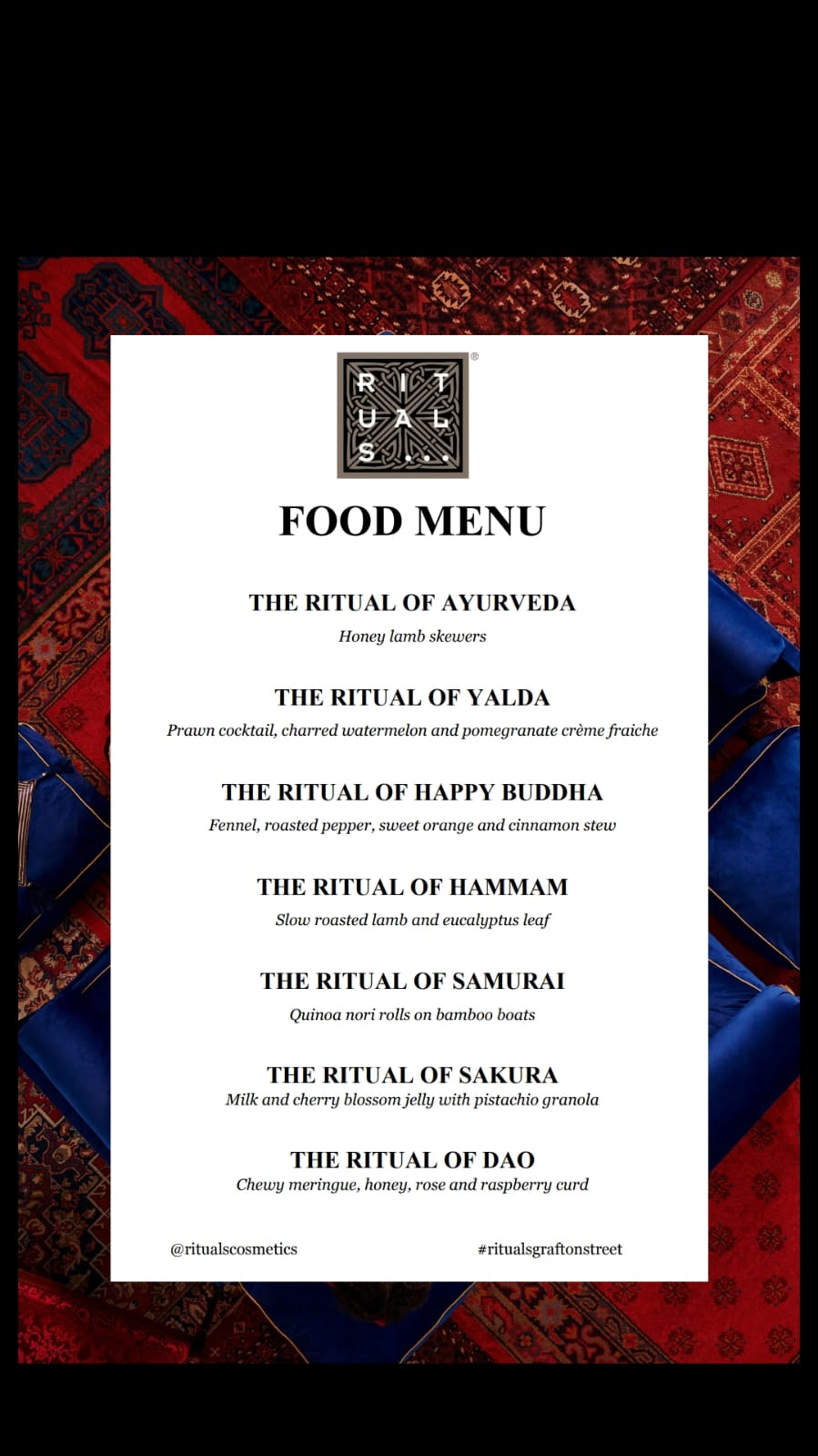 Bespoke Feast Menu - Specially designed menu we created to complement the beautiful Rituals products