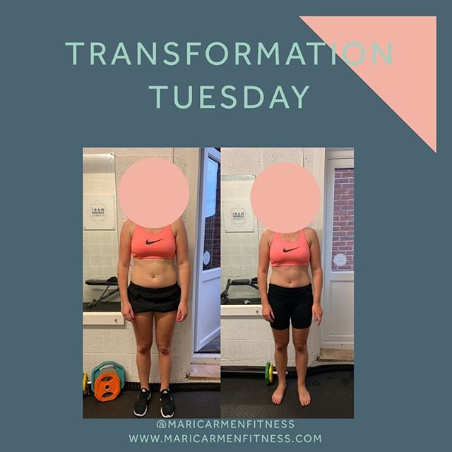 TRANSFORMATION TUESDAY.  Non scale victory. These pictures demonstrate that you shouldn't always go by the number on the scales.  This lovely lady joined 12 weeks ago and has had an amazing transformation. Well done!