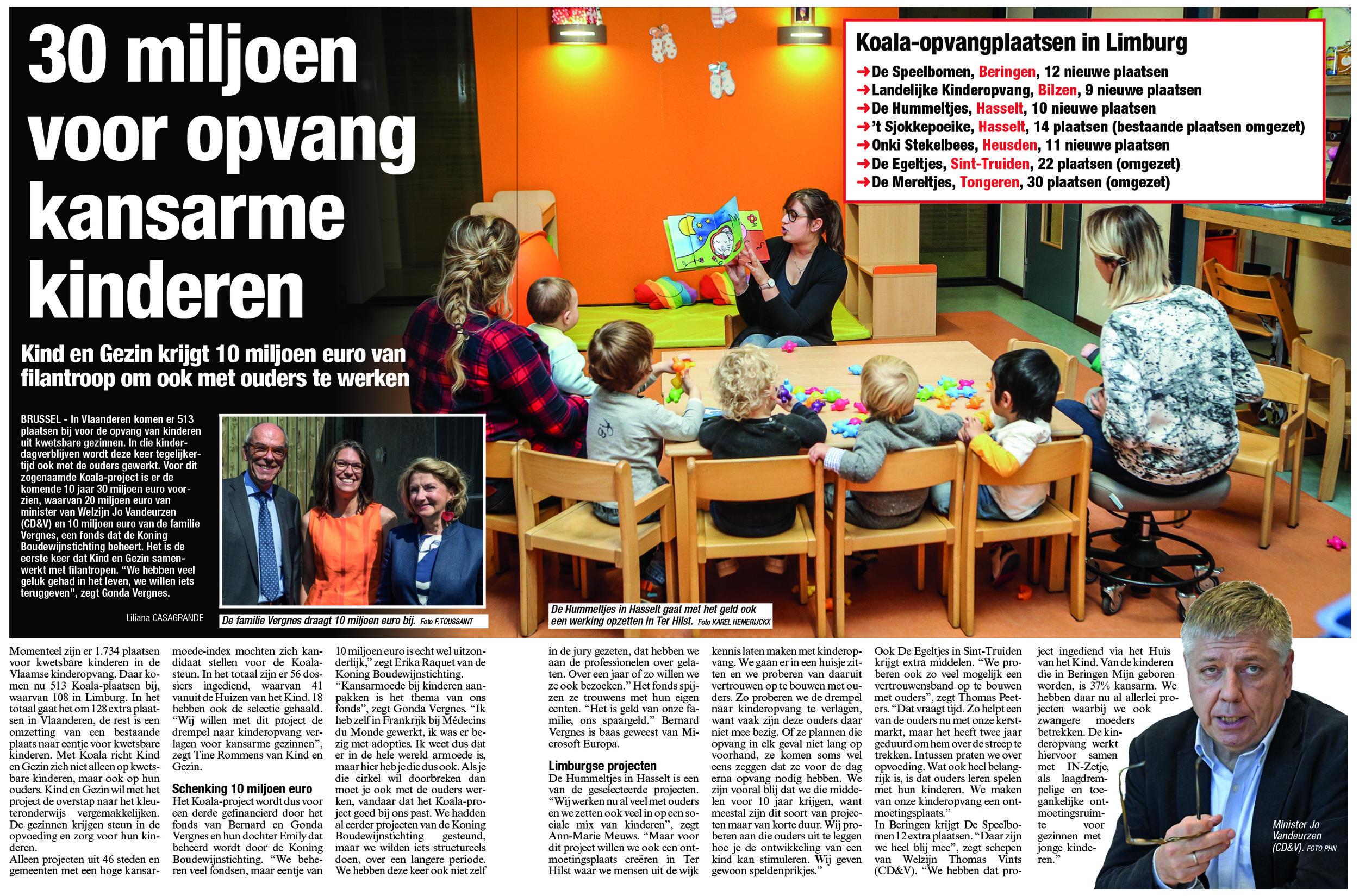 Extra ondersteuning voor meest kwetsbare gezinnen in Beringen