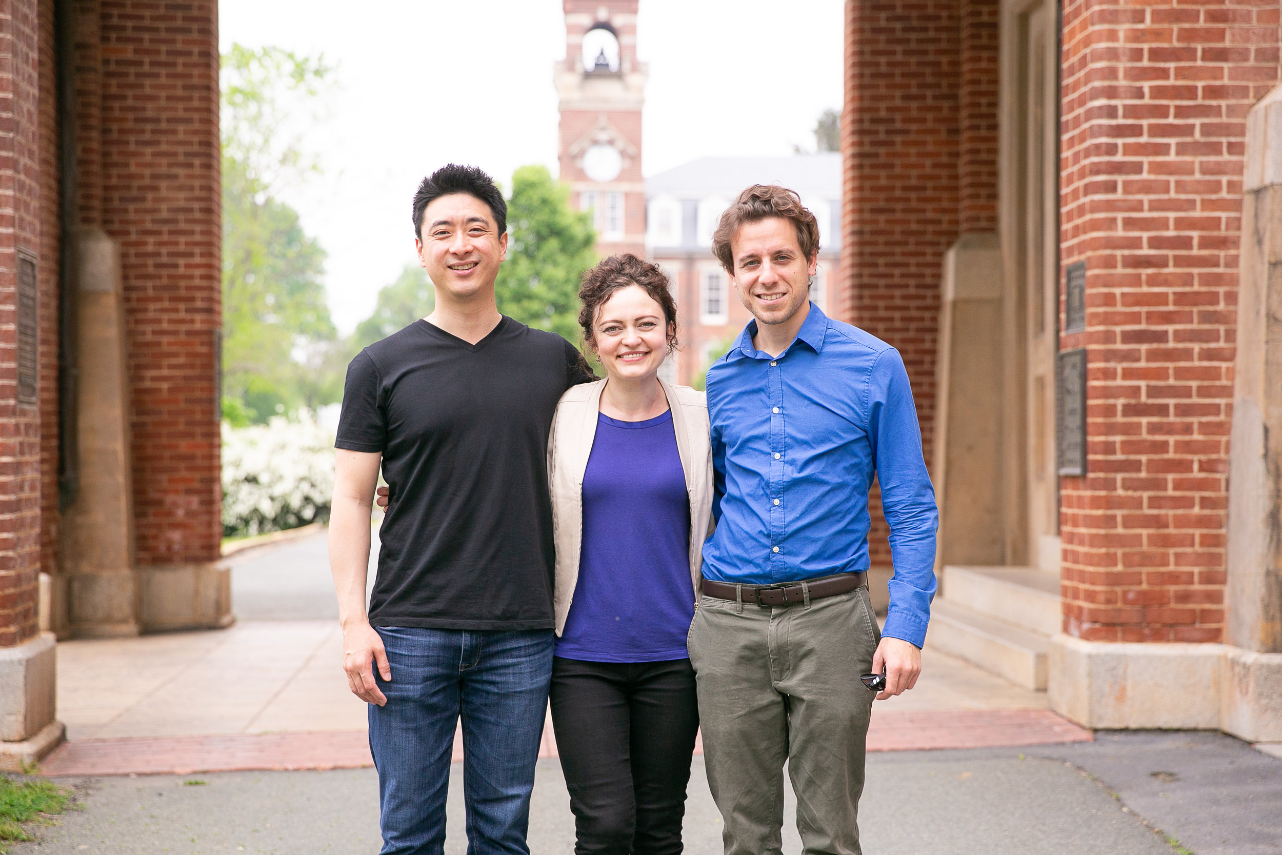 customImage  Trio Céleste members Iryna Krechkovsky, Ross Gasworth, and Kevin Kwan Loucks take a moment for a photo after their performance in Old Main.