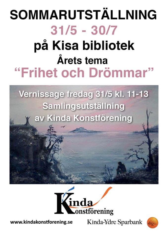 Sommarutställning på Kisa bibliotek31 maj-30 juli 2019 - Varmt välkommen på vernissage fredagen den 31 maj kl: 11:00-13:00 då jag medverkar med min fotokonst på Kinda Konstförenings årliga konstutställning på Kisa bibliotek. Utställningen pågår till tisdagen den 30 juli.