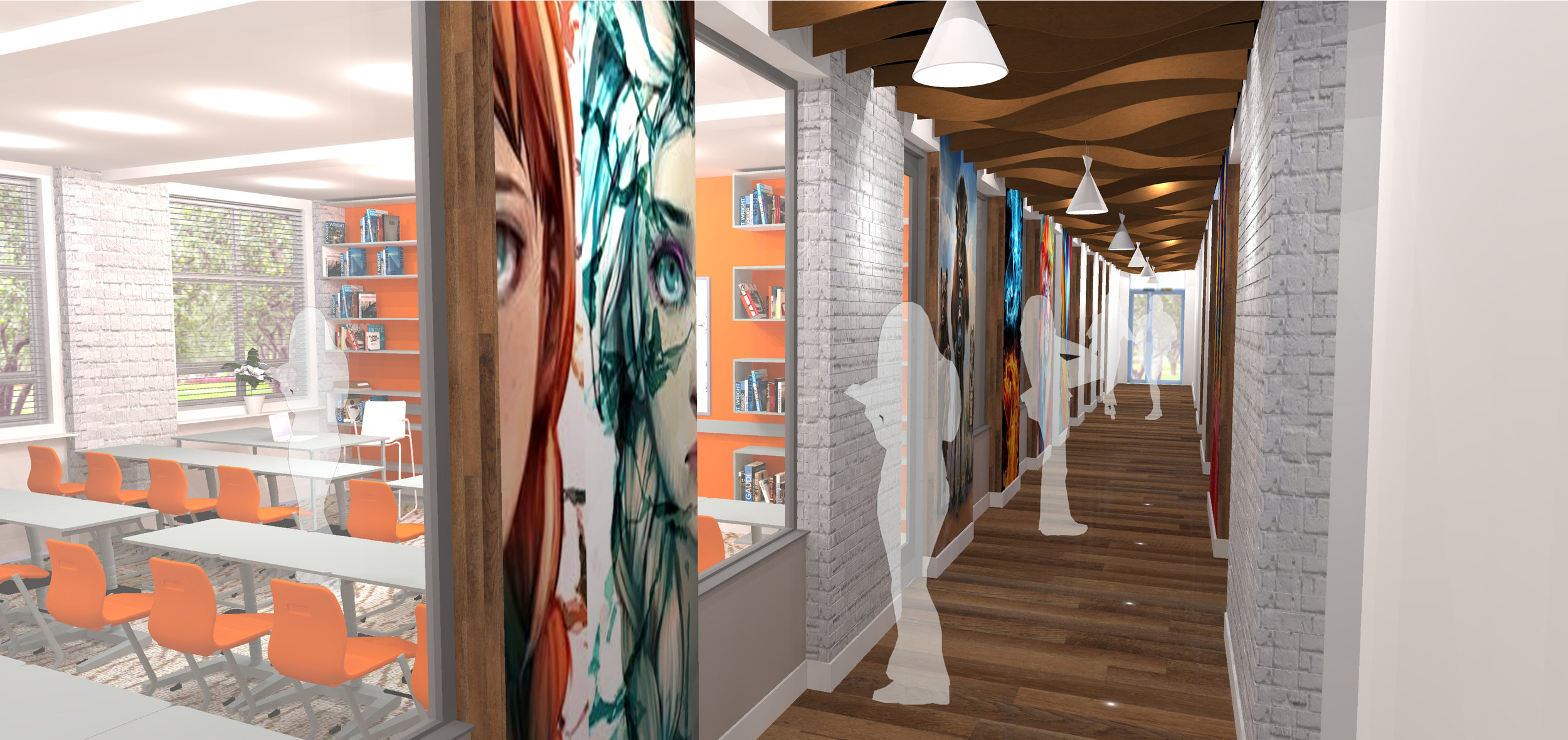 3d image of the proposals showing how light and colour would be brough into the previously dark corridors
