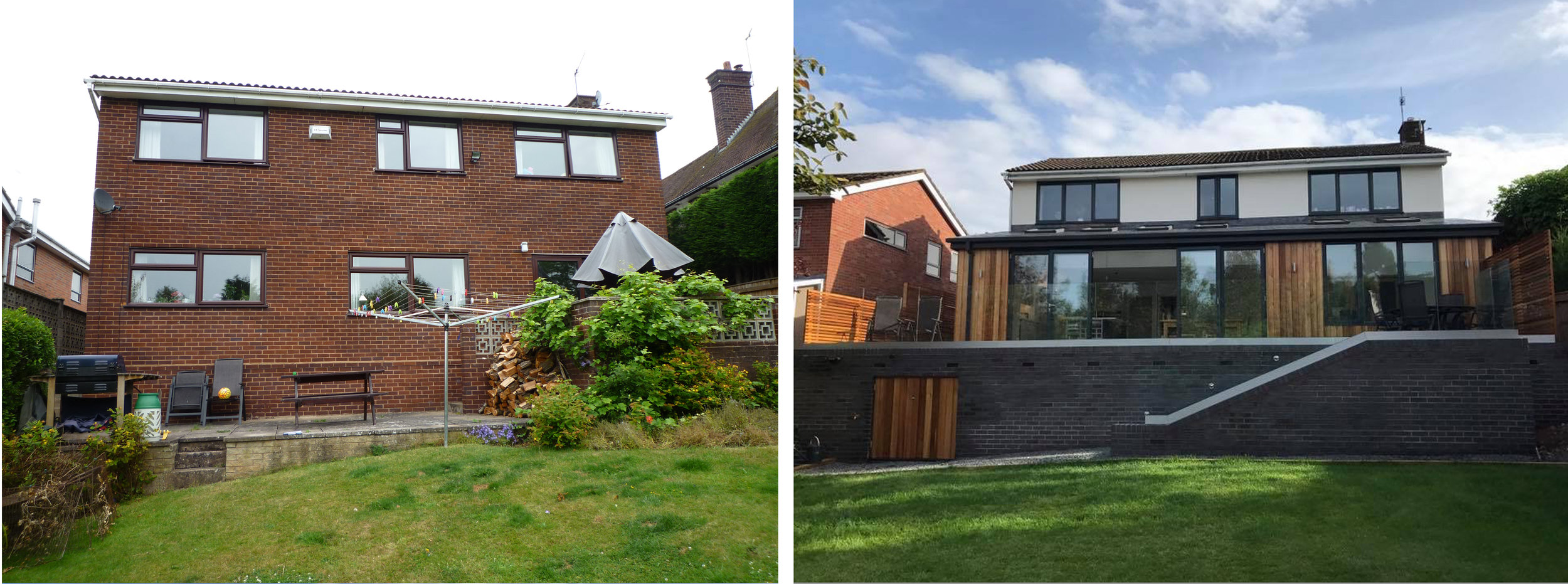 comparison image, showing before and after images of the exterior to the rear