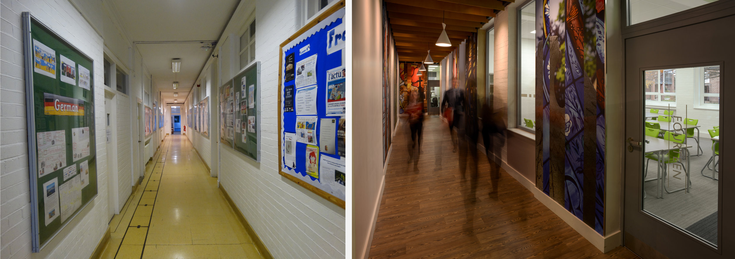 comparison image, showing before and after images of the corridor of the Hamilton Building