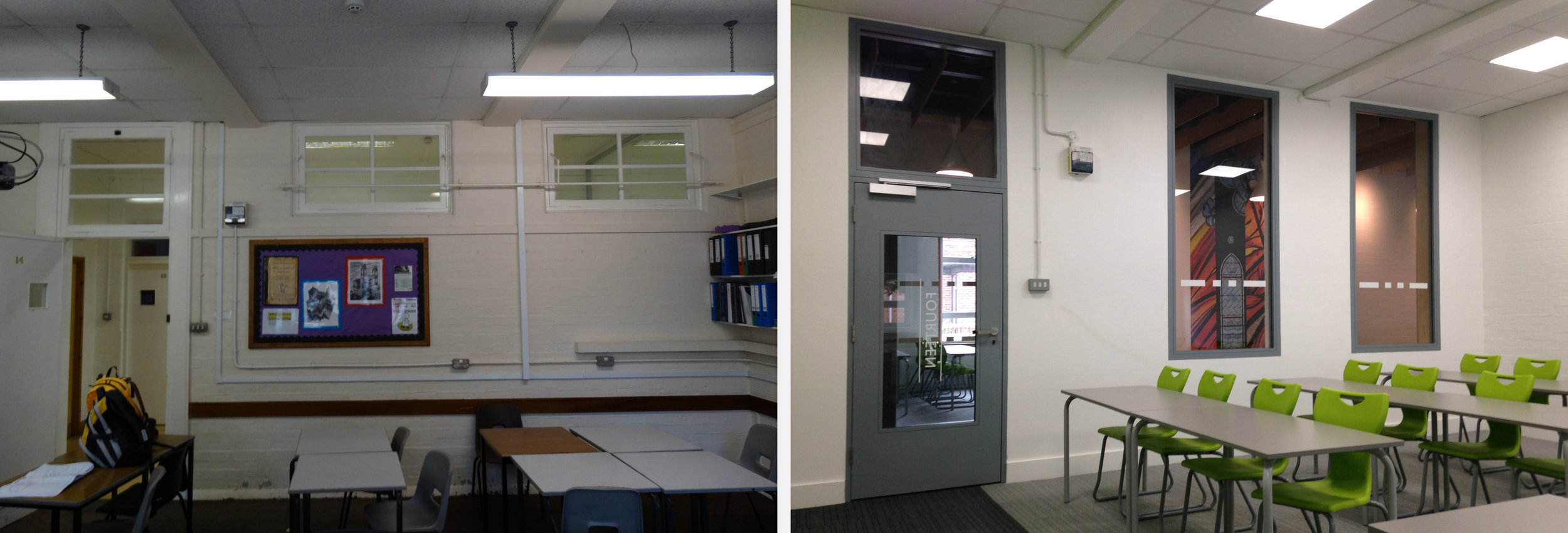 comparison image, showing before and after images of a classroom in the Hamilton Building