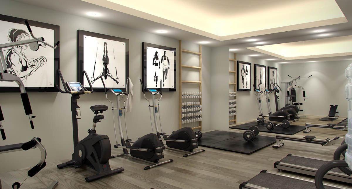 fully equipped private gym included within the communal facilities