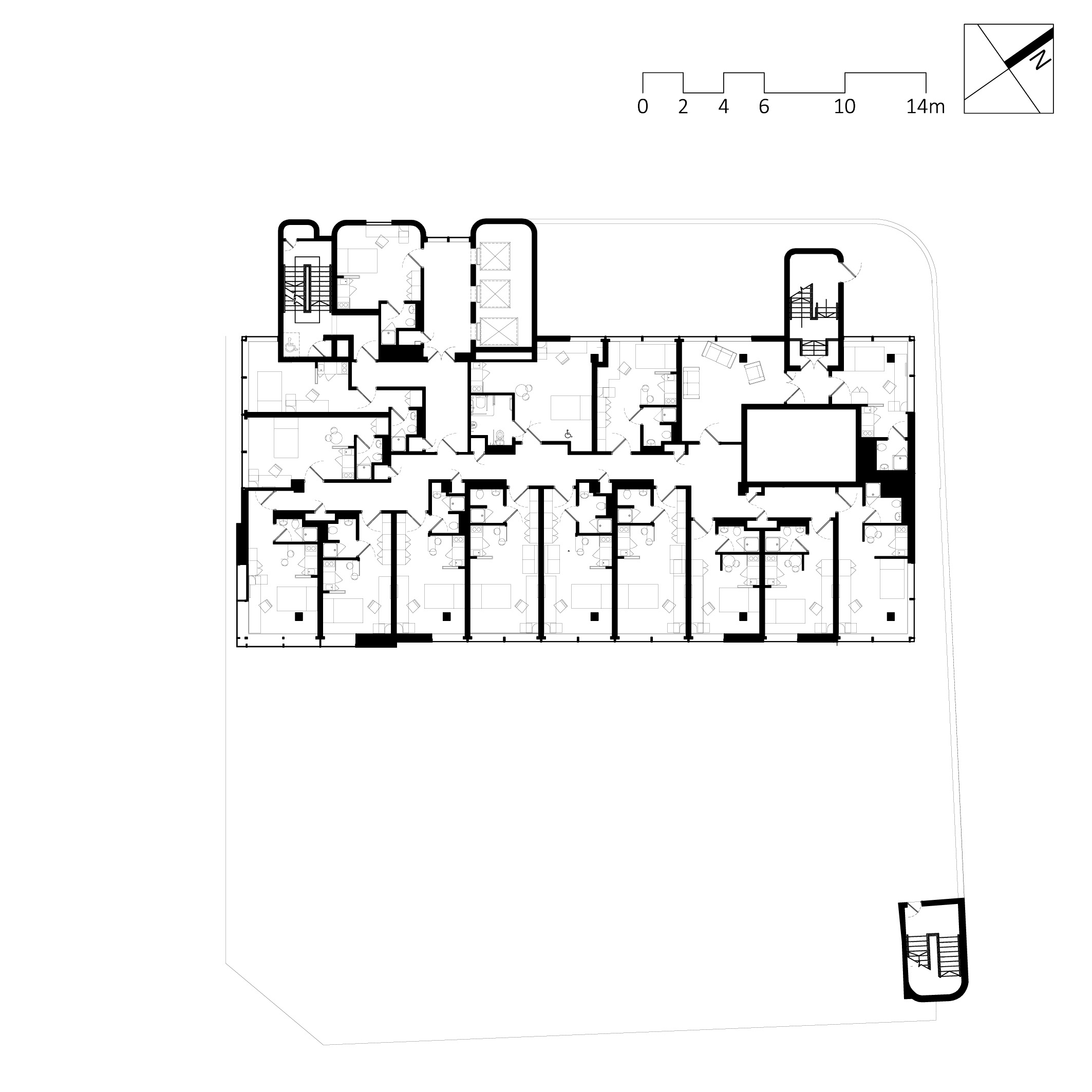 typical floor plan of a 'tower' level conversion